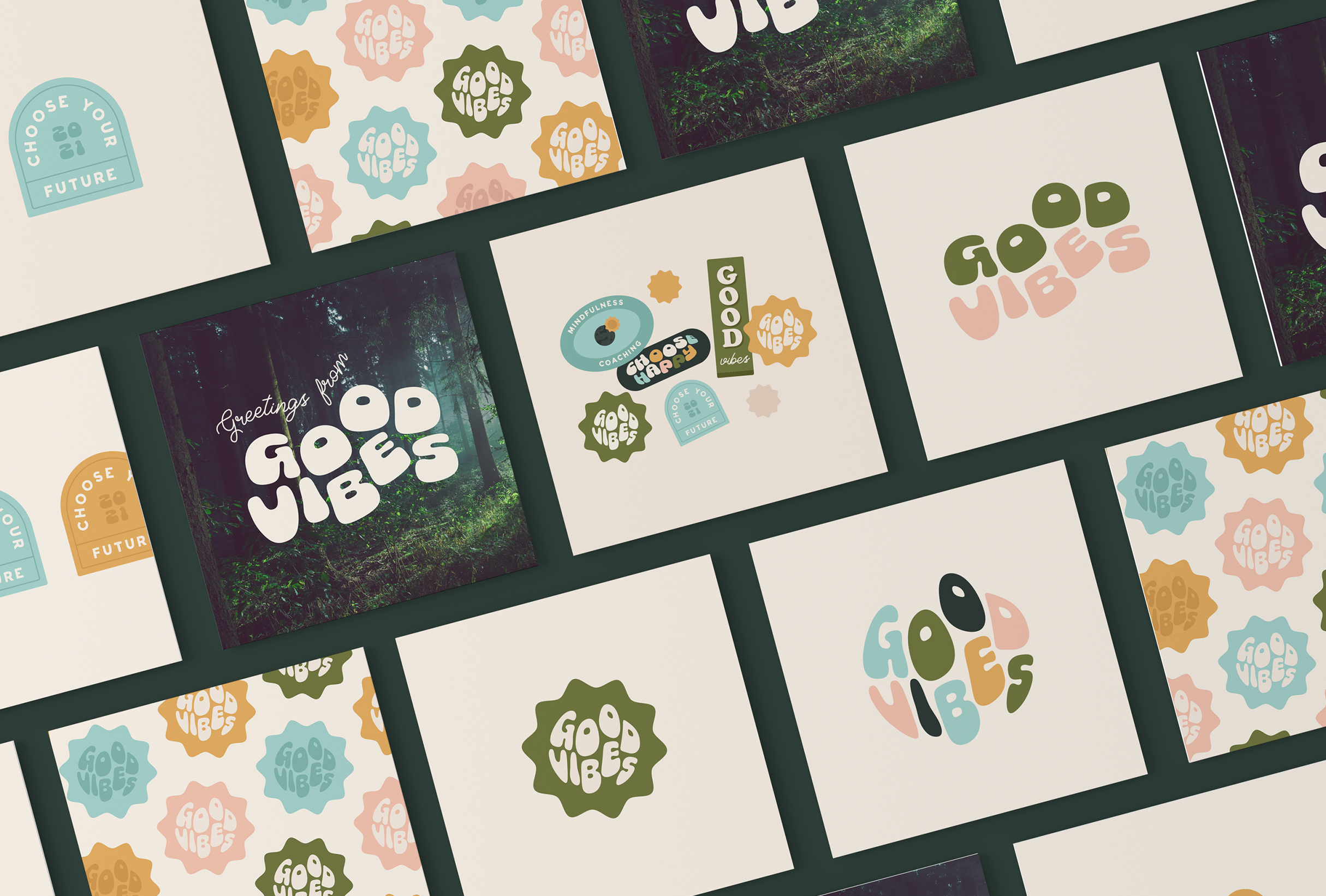 Business card designs for Bobbie at Good Vibes, a mindfulness & coaching business for women within the creative & tech industries - designed by Wiltshire-based graphic designer, Kaye Huett