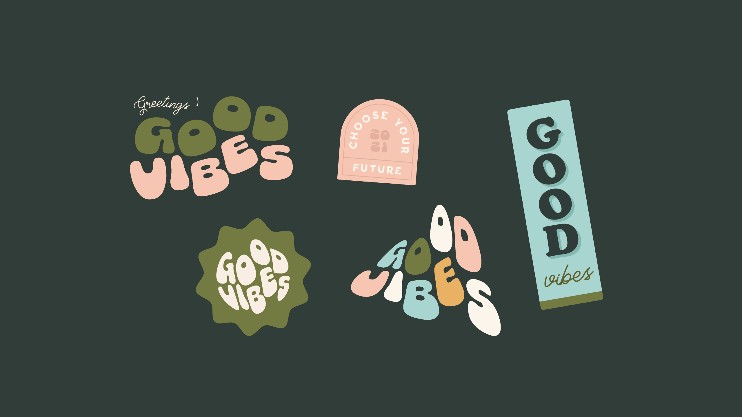 Animated sticker GIF design for Bobbie at Good Vibes, a mindfulness & coaching business for women within the creative & tech industries - designed by Wiltshire-based graphic designer, Kaye Huett