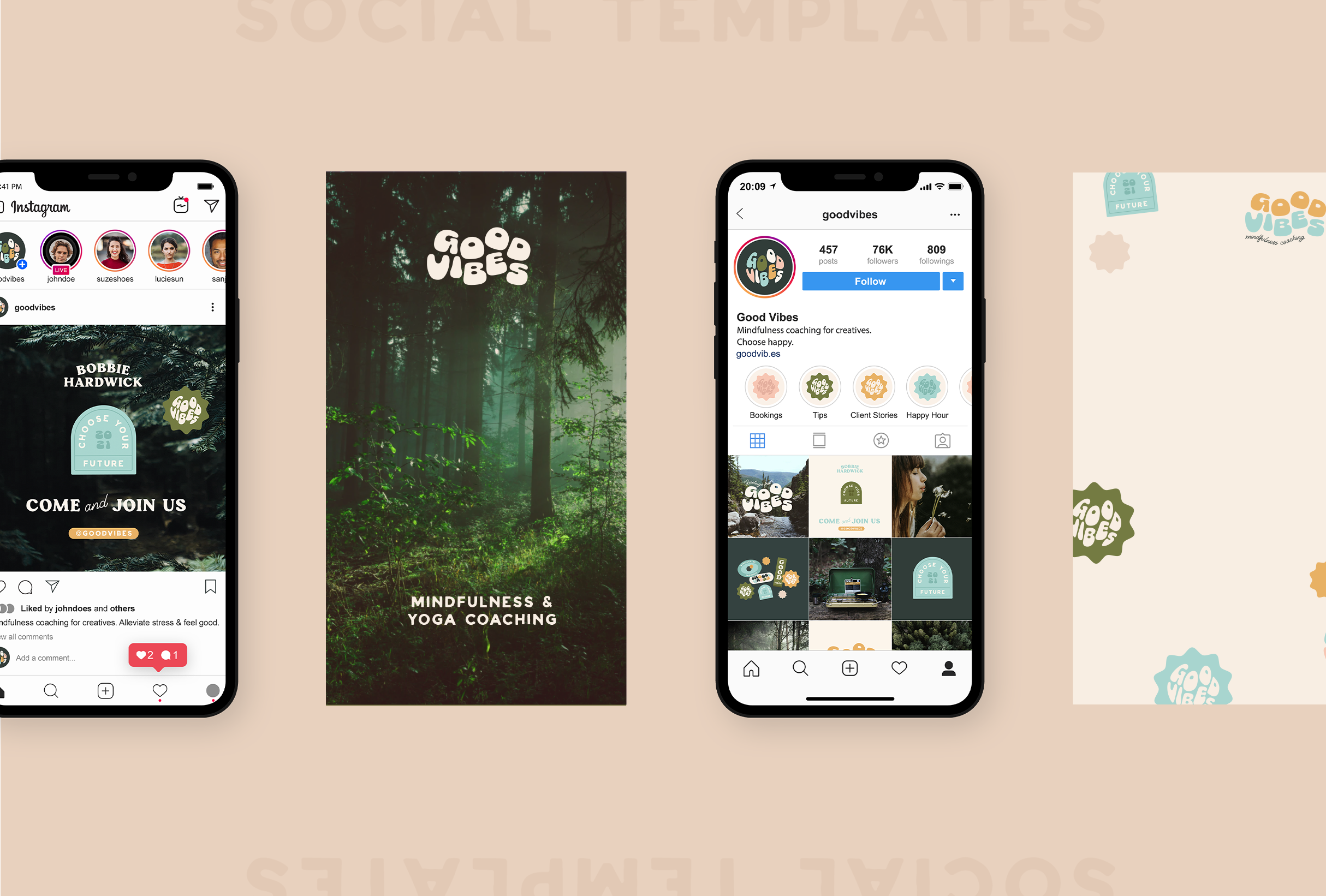 Instagram grid and story templates for Bobbie at Good Vibes, a mindfulness & coaching business for women within the creative & tech industries - designed by Wiltshire-based graphic designer, Kaye Huett