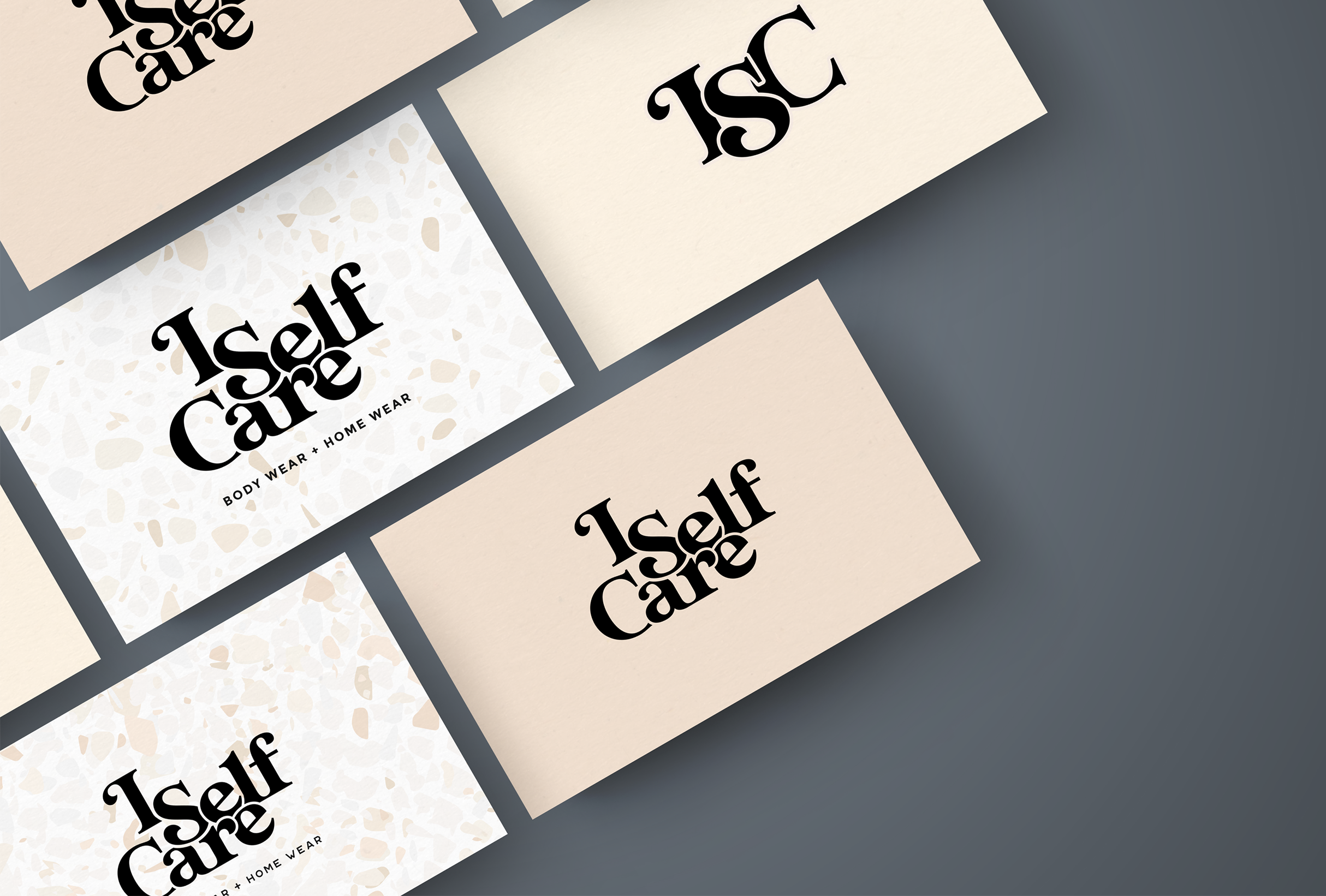 Business card design for I Self Care, a body care and home wear line focused on selling candles and soaps that are non-toxic and derived from plants - designed by Wiltshire-based graphic designer, Kaye Huett