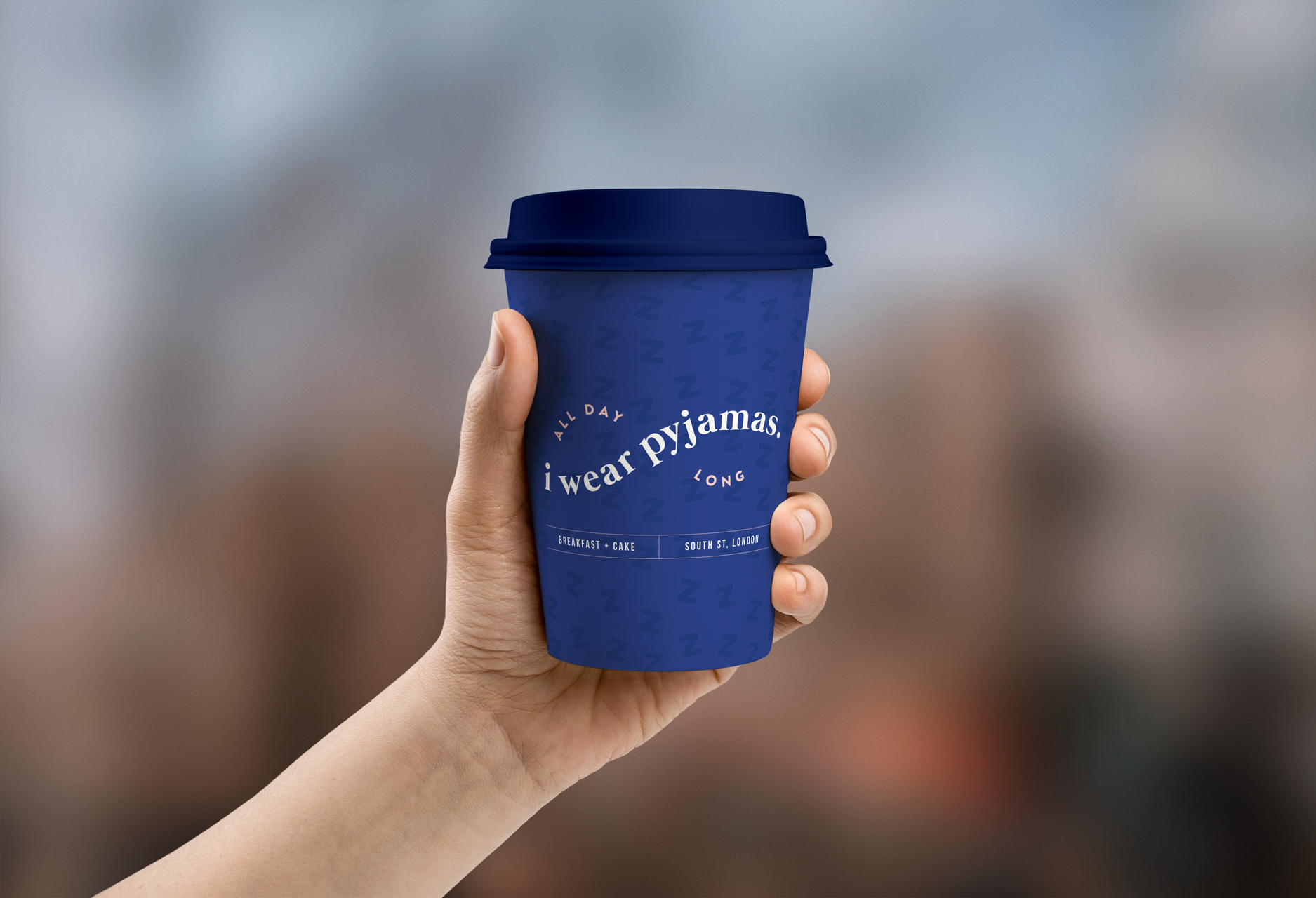 Coffee cup design for i wear pyjamas, a self-confessed breakfast & cake bar  - Designed by Wiltshire-based graphic designer, Kaye Huett