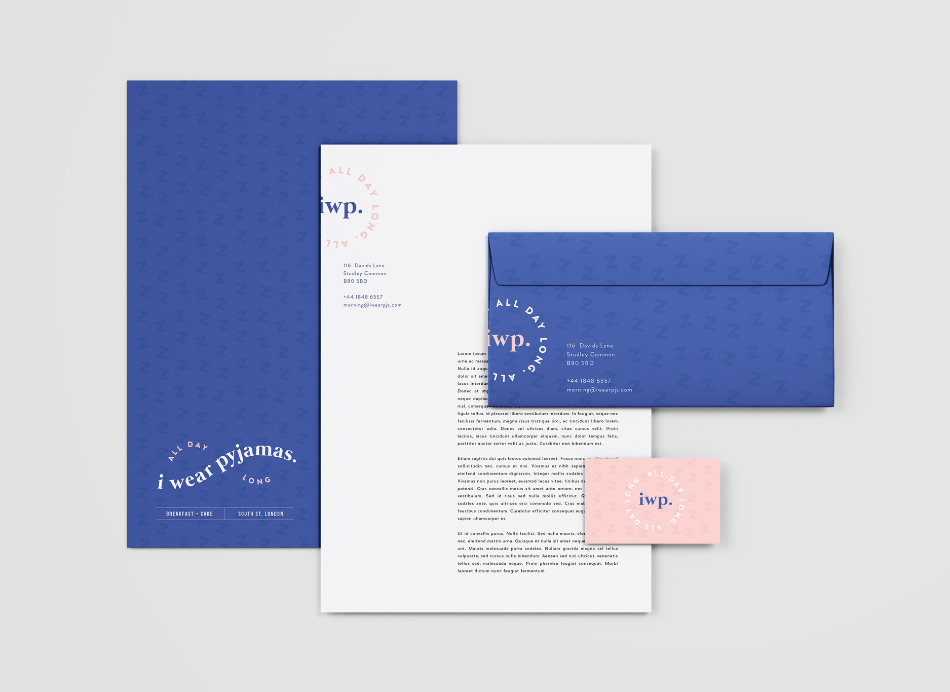 Stationery design for i wear pyjamas, a self-confessed breakfast & cake bar  - Designed by Wiltshire-based graphic designer, Kaye Huett