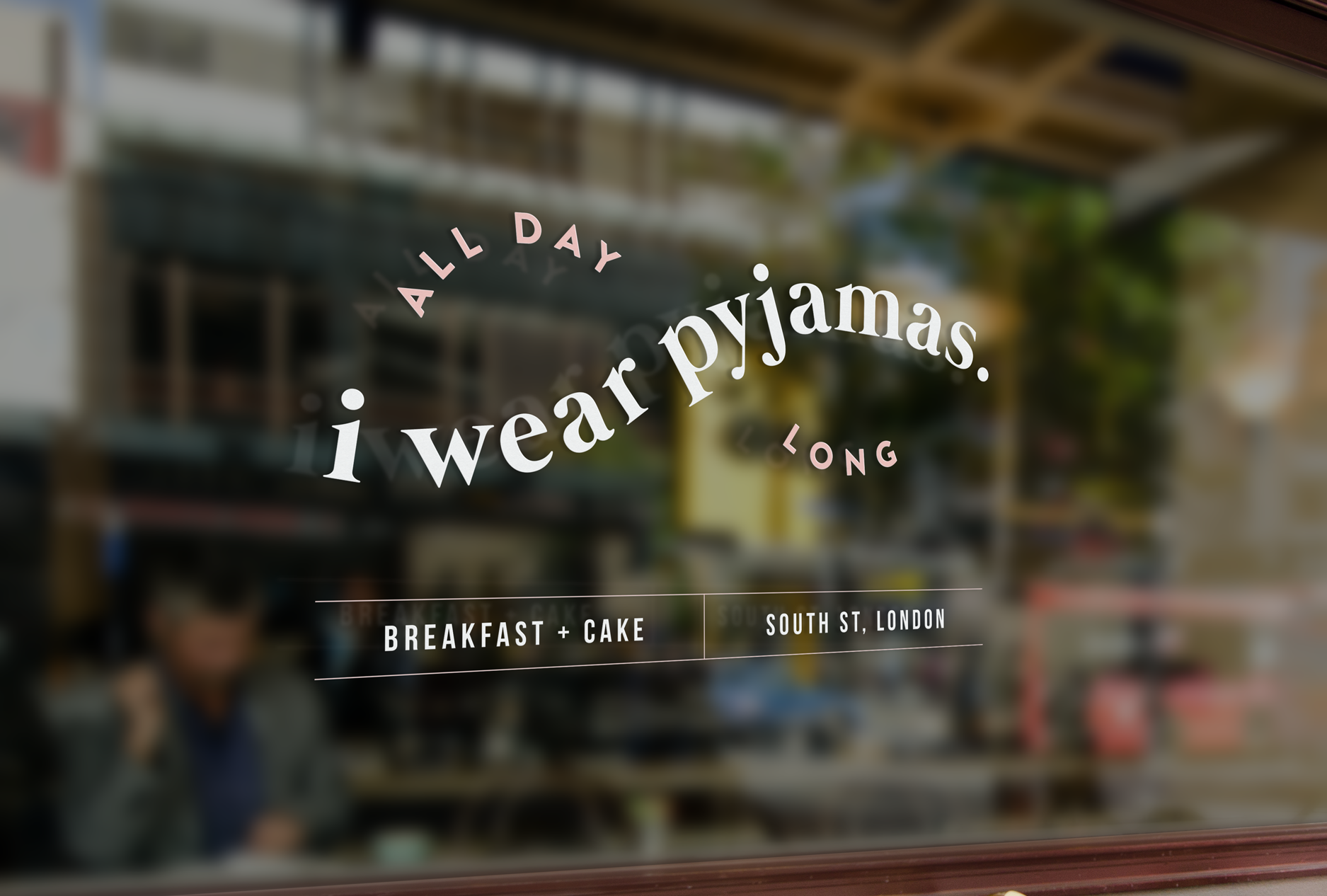 Window design for i wear pyjamas, a self-confessed breakfast & cake bar  - Designed by Wiltshire-based graphic designer, Kaye Huett