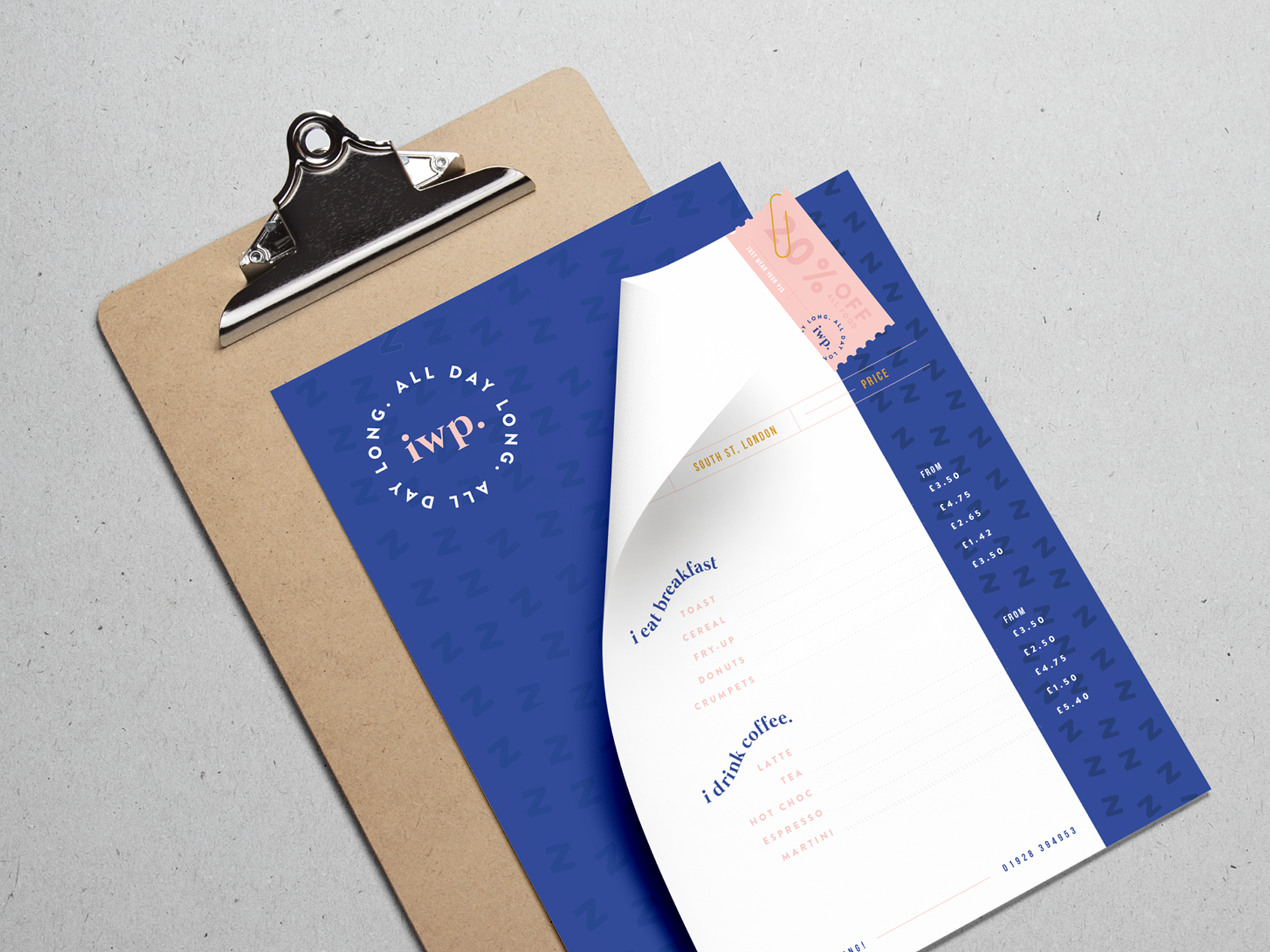 Menu design for i wear pyjamas, a self-confessed breakfast & cake bar  - Designed by Wiltshire-based graphic designer, Kaye Huett