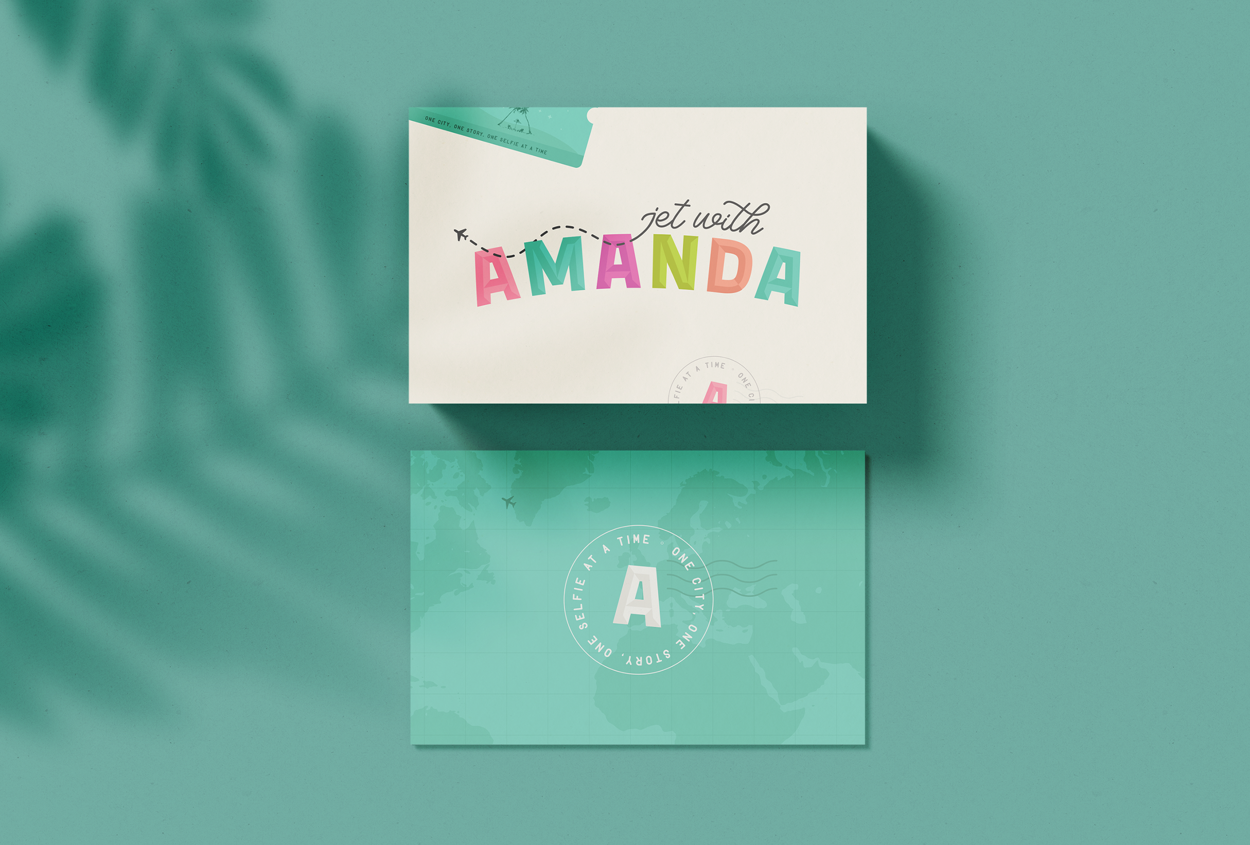 Business card design for Jet with Amanda, a private jet flight attendant sharing her adventures and recommendations via her Instagram, YouTube and blog - designed by Wiltshire-based graphic designer, Kaye Huett