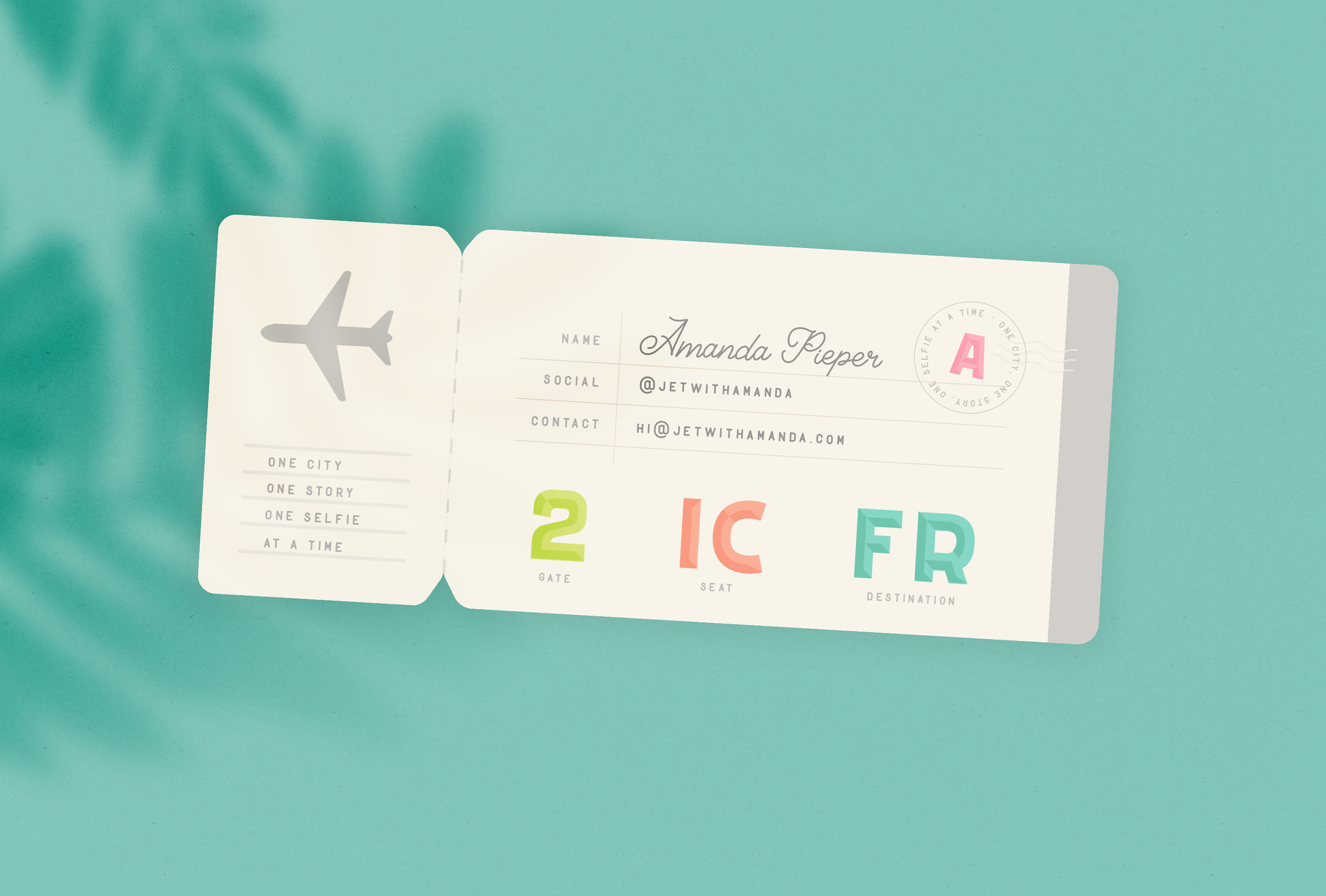 Fun ticket design for Jet with Amanda, a private jet flight attendant sharing her adventures and recommendations via her Instagram, YouTube and blog - designed by Wiltshire-based graphic designer, Kaye Huett