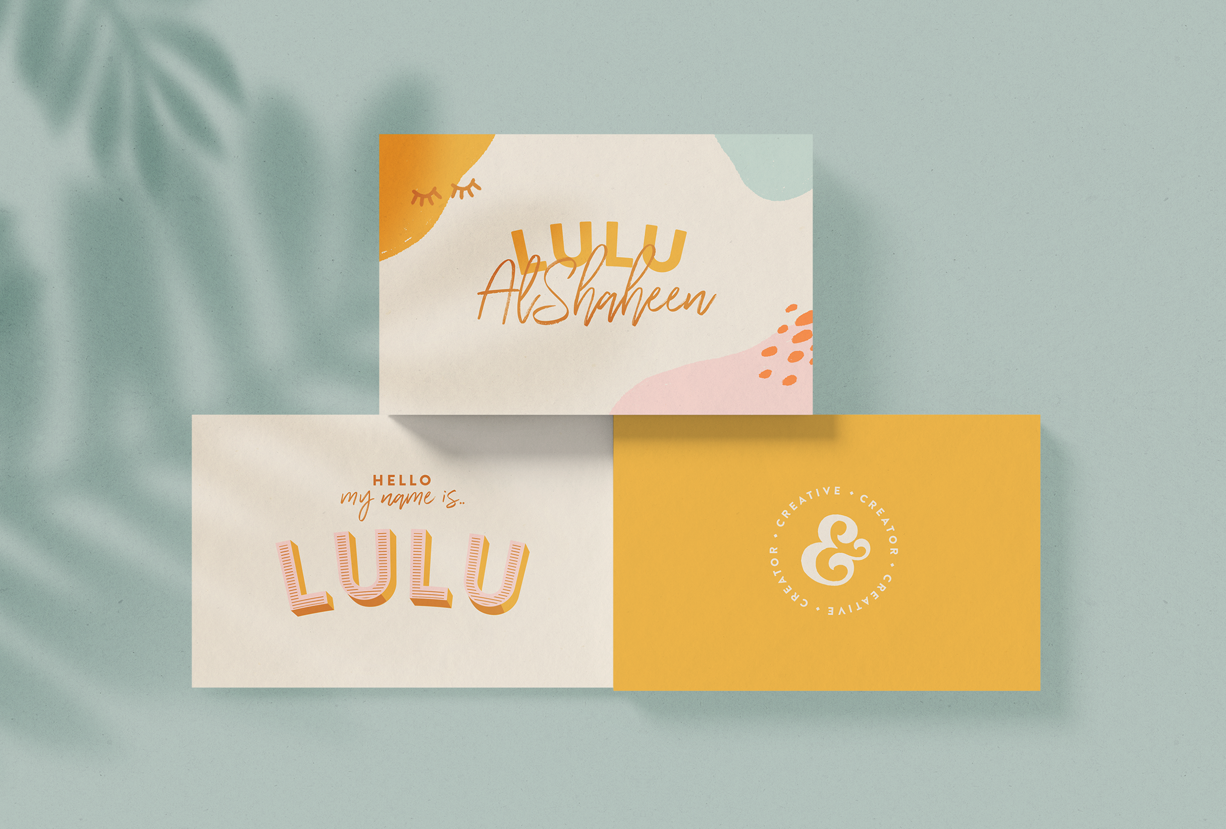 Business cards for Lulu AlShaheen, illustrator, brand designer & social media content creator - designed by Wiltshire-based graphic designer, Kaye Huett