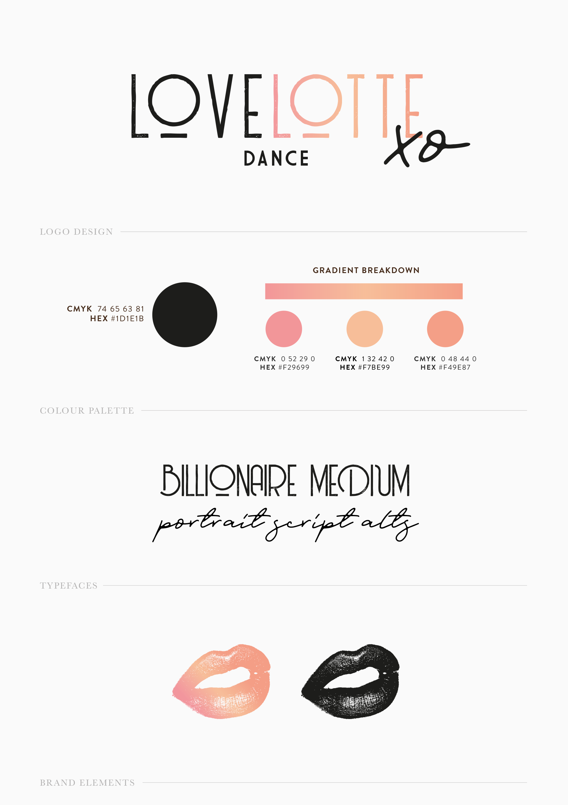 The brand document outlining the new logo, colour palette and brand elements for dance studio and attire brand Love Lotte - designed by Wiltshire-based graphic designer, Kaye Huett