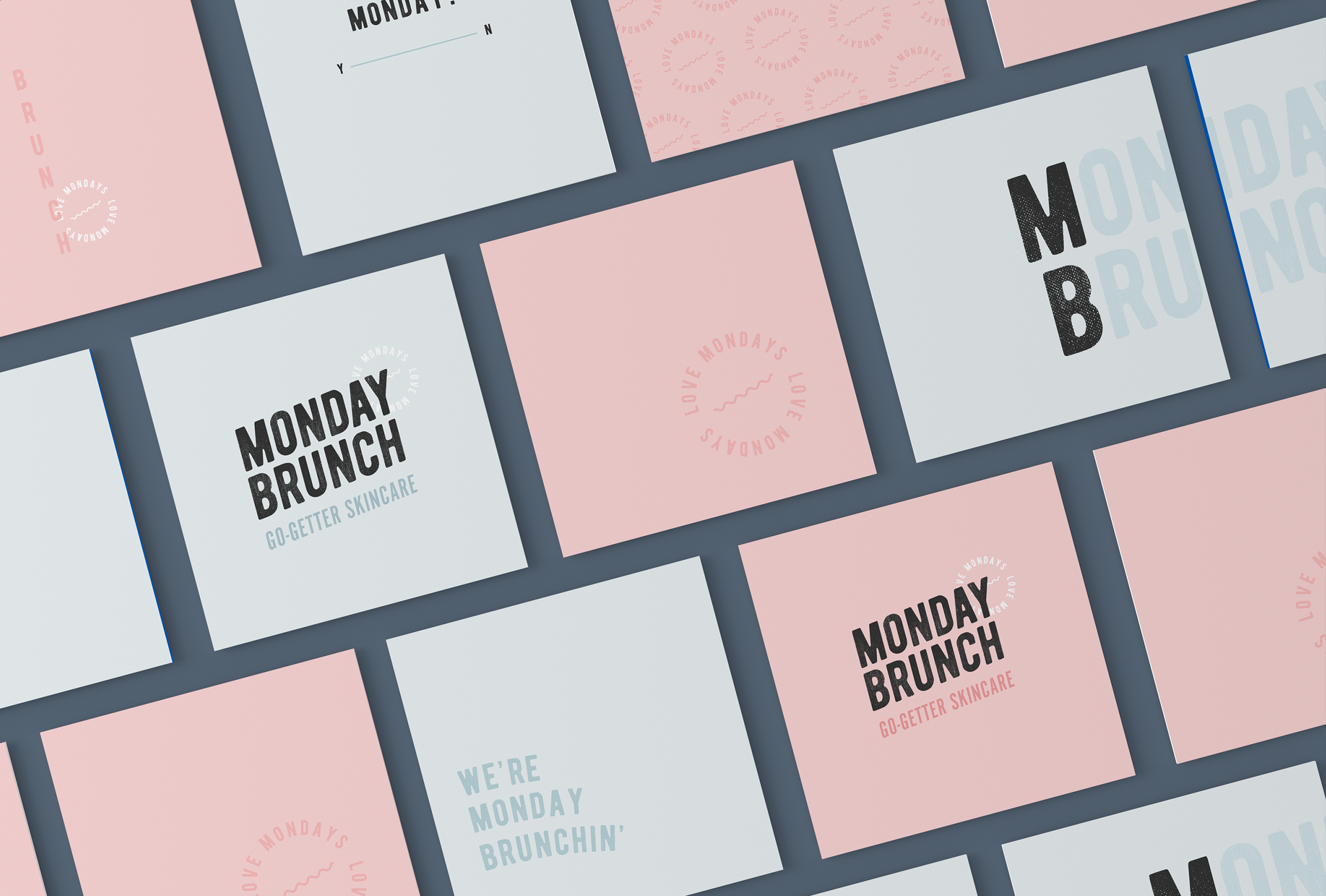 Business cards design for Monday Brunch, a skincare line that aims to bring high-quality products and positivity to it's customers, no matter what day of the week - designed by Wiltshire-based graphic designer, Kaye Huett