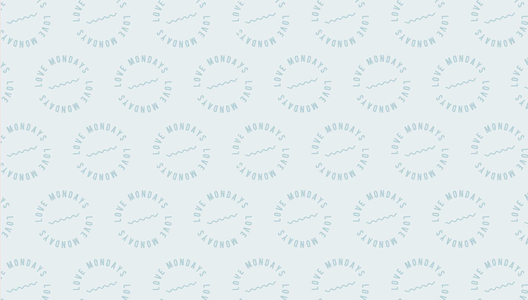 'Love Mondays' repeat pattern for Monday Brunch, a skincare line that aims to bring high-quality products and positivity to it's customers, no matter what day of the week - designed by Wiltshire-based graphic designer, Kaye Huett