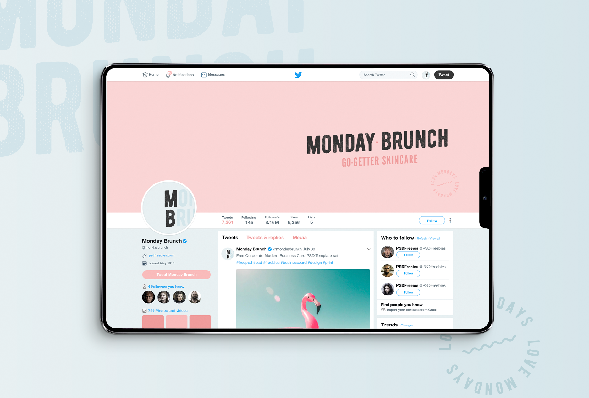 Twitter profile mock-up for Monday Brunch, a skincare line that aims to bring high-quality products and positivity to it's customers, no matter what day of the week - designed by Wiltshire-based graphic designer, Kaye Huett