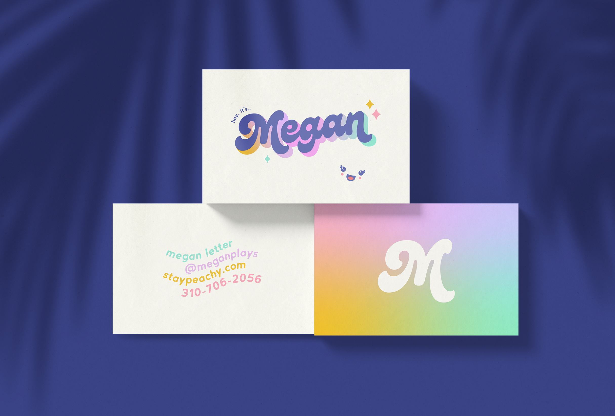 Business card design for MeganPlays, a successful gaming & lifestyle youtuber - designed by Wiltshire-based graphic designer, Kaye Huett