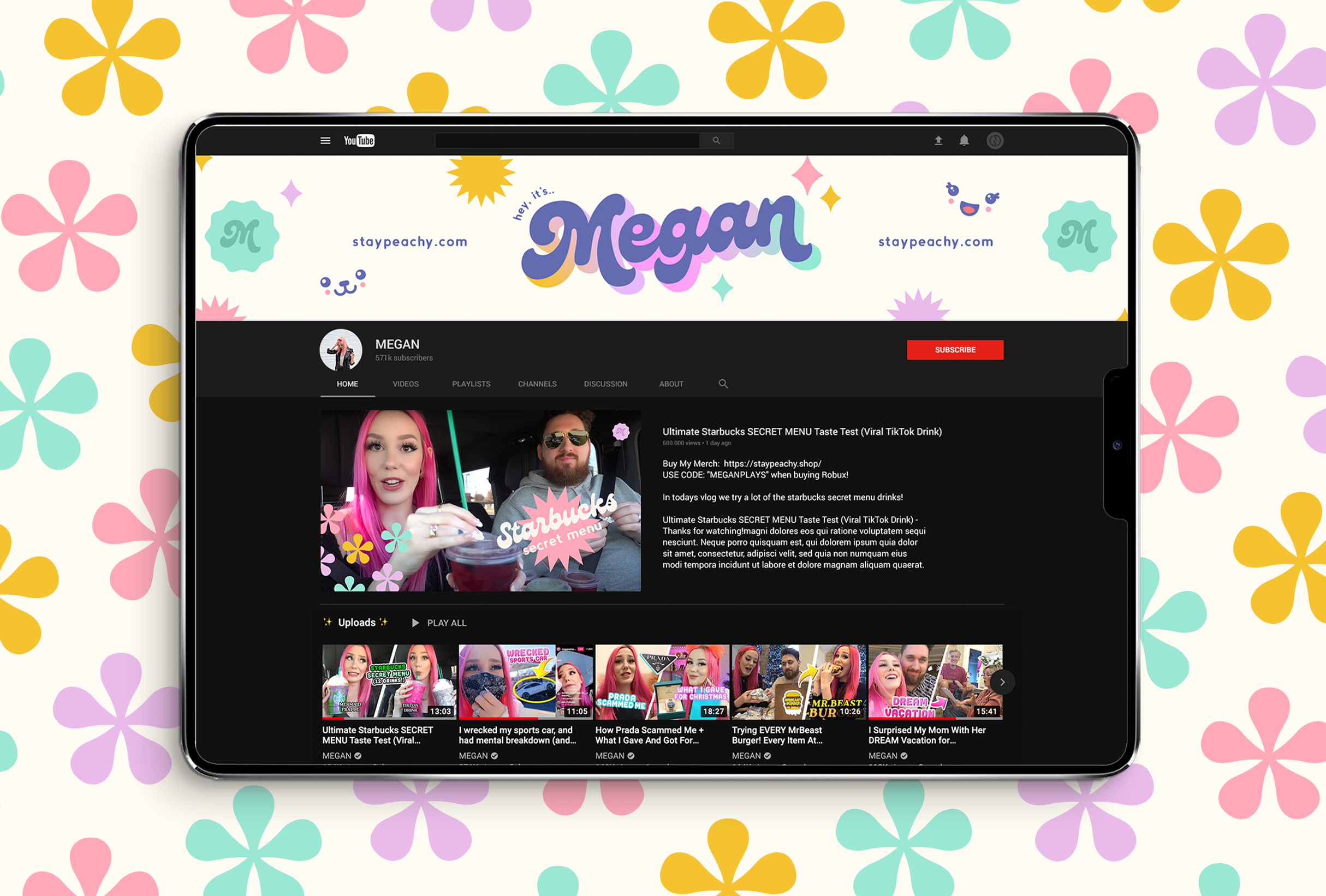 Youtube for MeganPlays, a successful gaming & lifestyle youtuber - designed by Wiltshire-based graphic designer, Kaye Huett