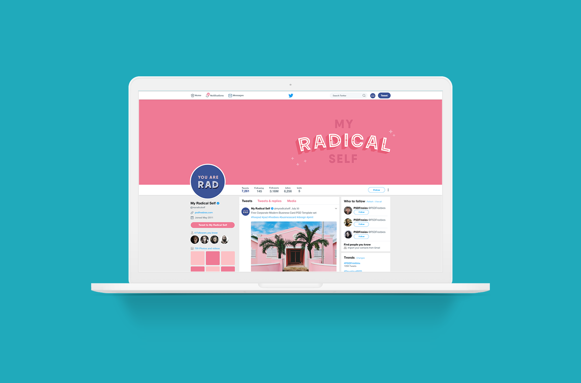 Social media Twitter mockup for My Radical Self, an online community and blog for women focusing on self-love, feminism and mindfulness - designed by Wiltshire-based graphic designer, Kaye Huett