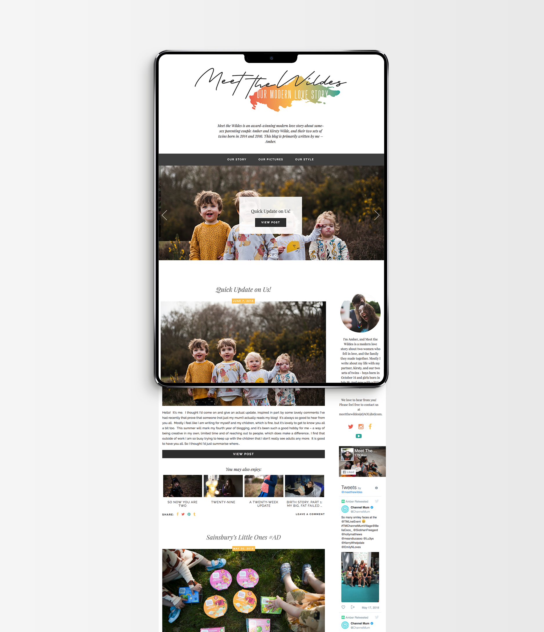 Theme implementation of new branding/header design for Meet the Wildes, family & lifestyle blog - Designs by Kaye Huett, Wiltshire-based graphic designer