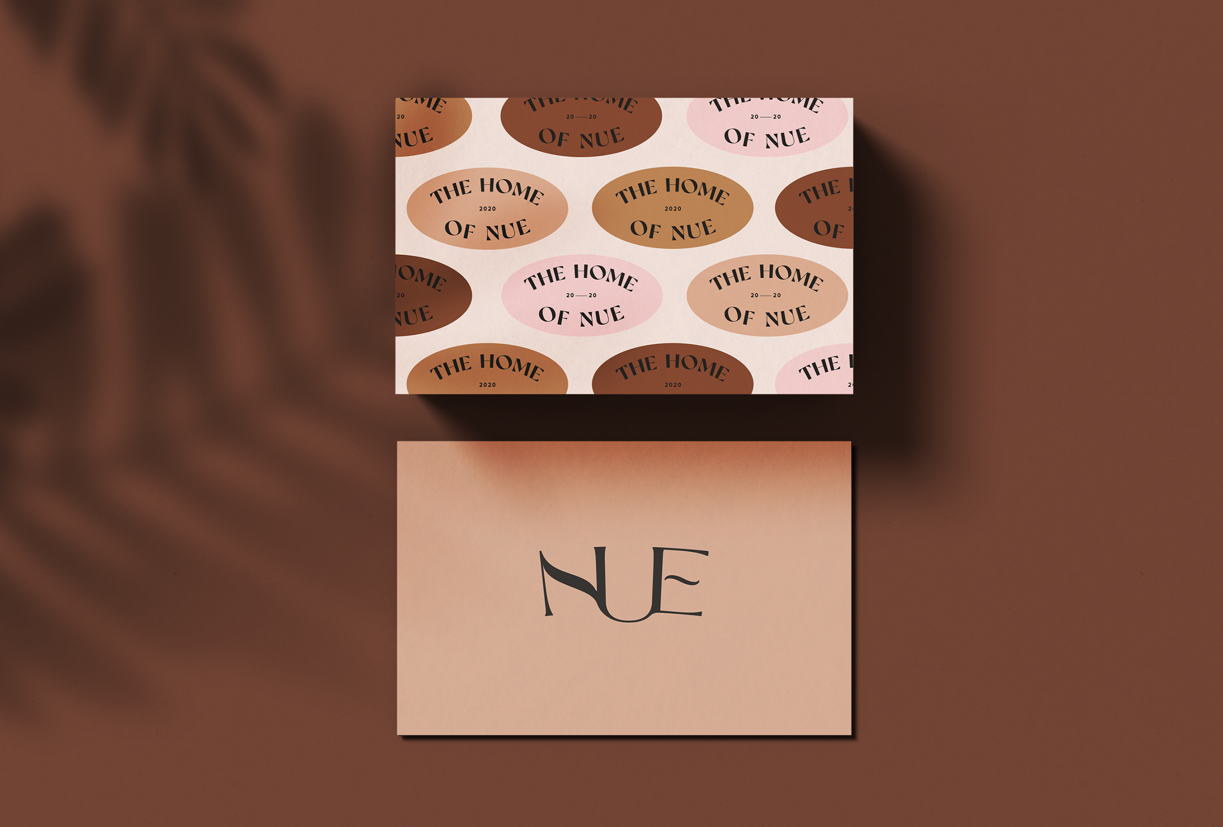 Business cards for Nue, home, beauty & lifestyle brand specialsing in nude shades for their products - designed by Wiltshire-based graphic designer, Kaye Huett