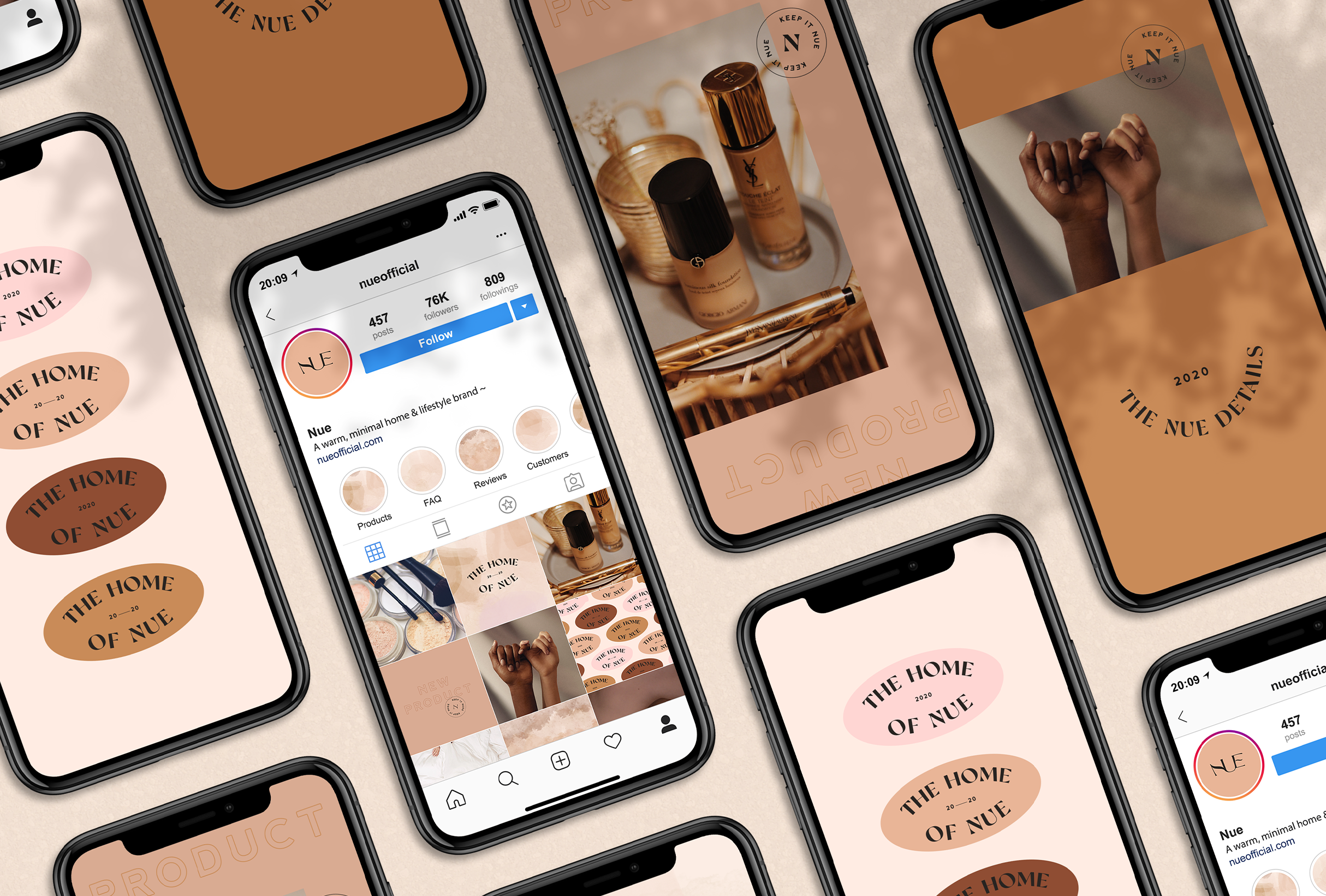 Instagram strategy for Nue, home, beauty & lifestyle brand specialsing in nude shades for their products - designed by Wiltshire-based graphic designer, Kaye Huett