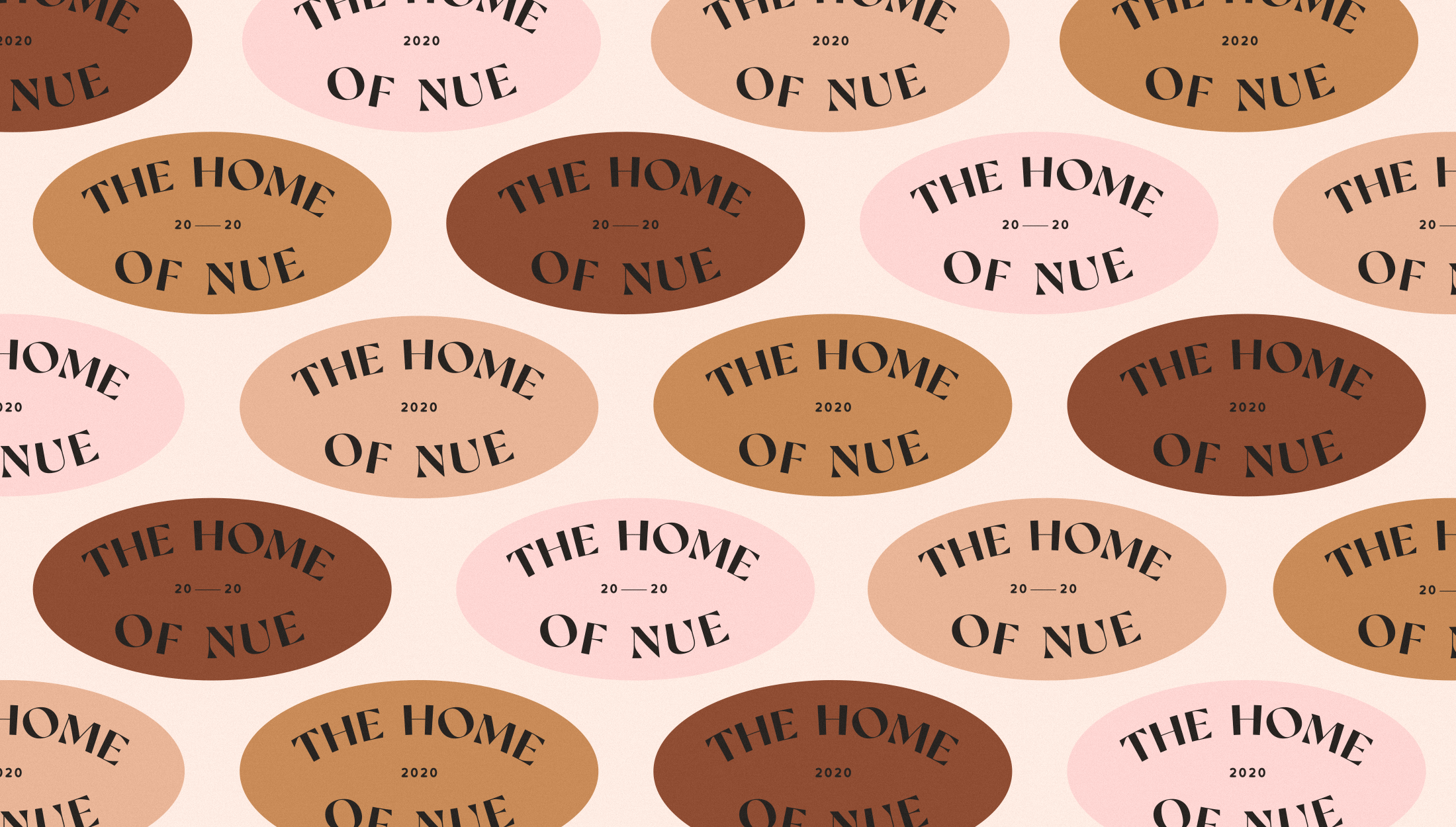 Logomark pattern for Nue, home, beauty & lifestyle brand specialsing in nude shades for their products - designed by Wiltshire-based graphic designer, Kaye Huett