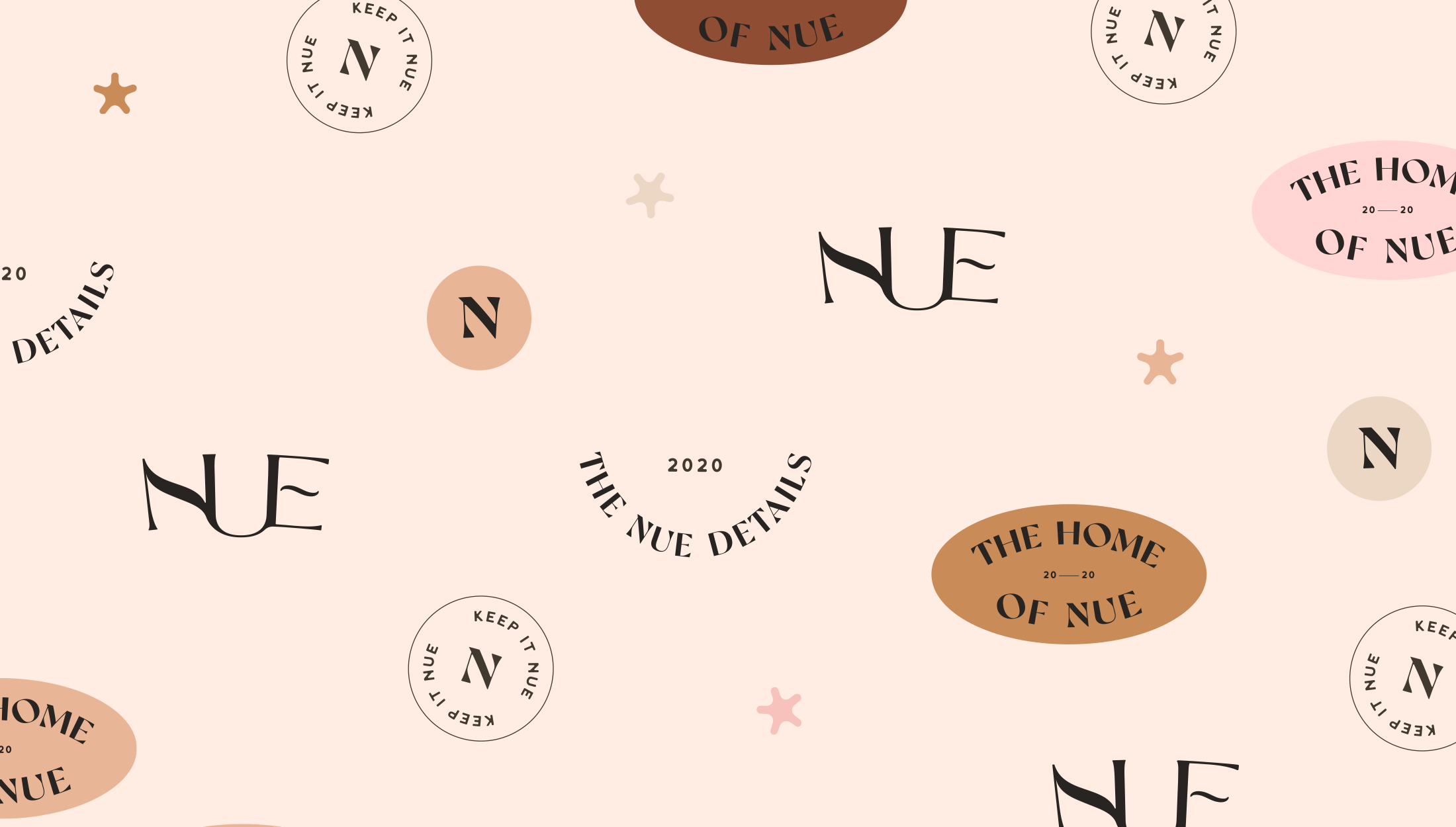 Brand pattern for Nue, home, beauty & lifestyle brand specialsing in nude shades for their products - designed by Wiltshire-based graphic designer, Kaye Huett