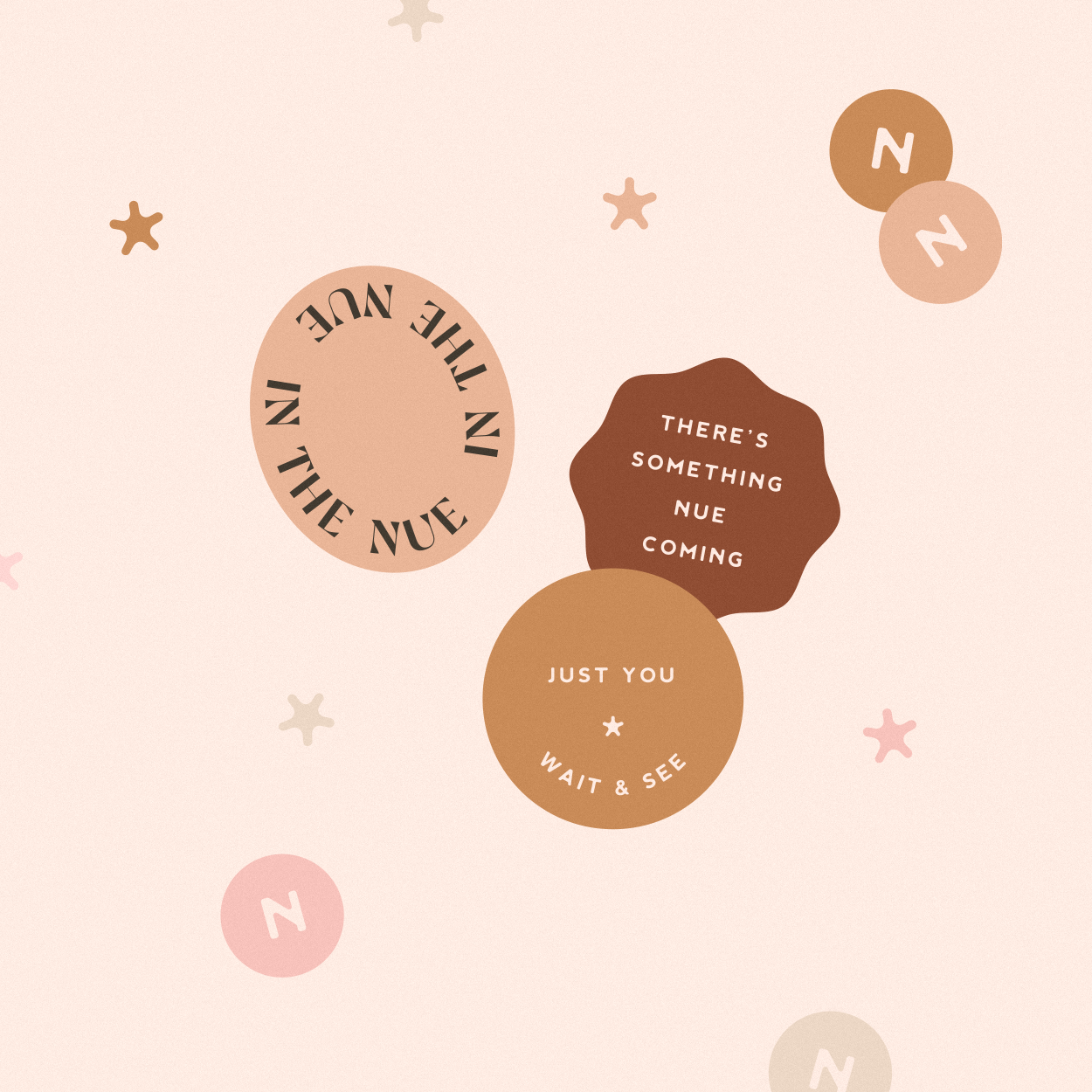 Sticker design for Nue, home, beauty & lifestyle brand specialsing in nude shades for their products - designed by Wiltshire-based graphic designer, Kaye Huett