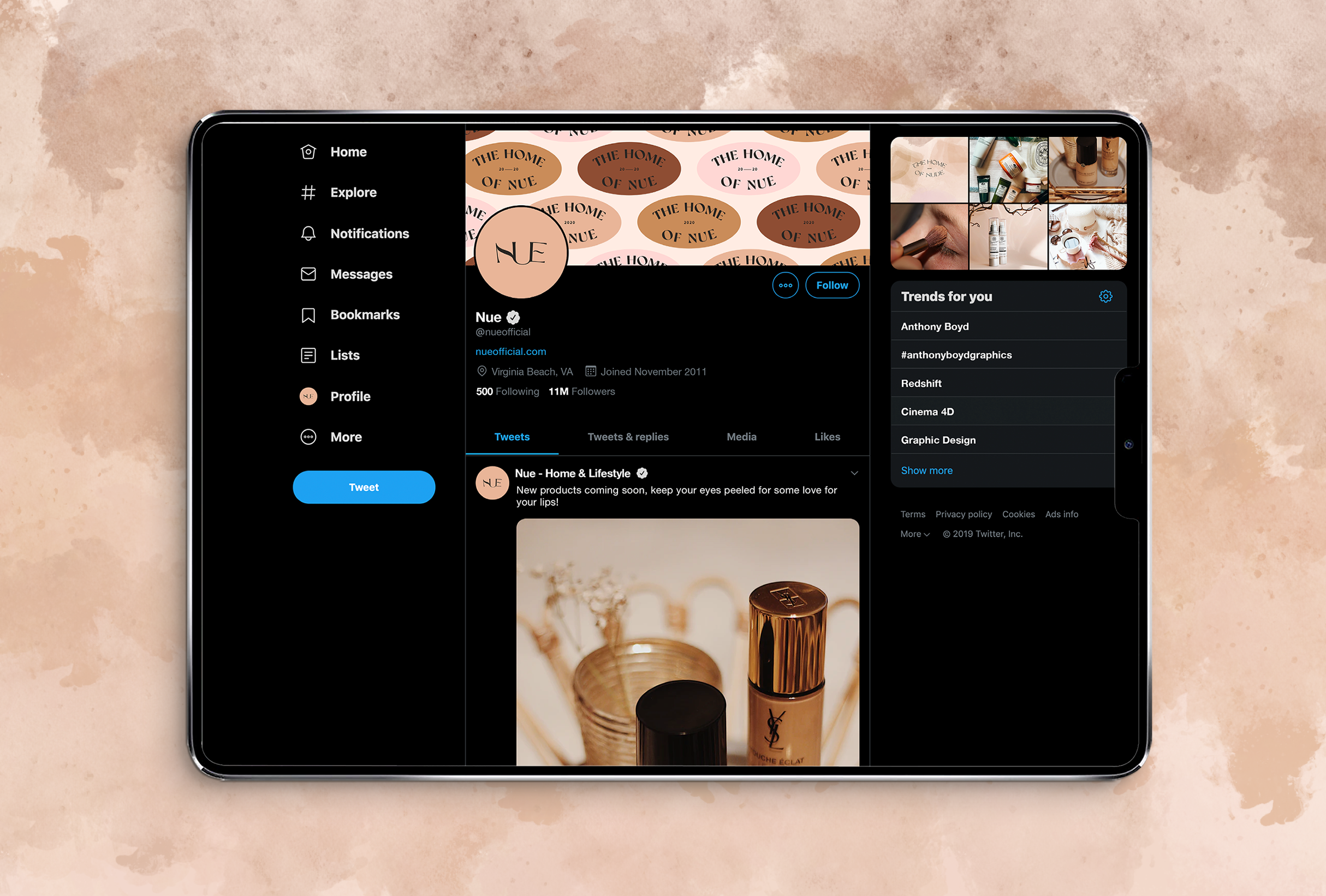 Twitter strategy for Nue, home, beauty & lifestyle brand specialsing in nude shades for their products - designed by Wiltshire-based graphic designer, Kaye Huett