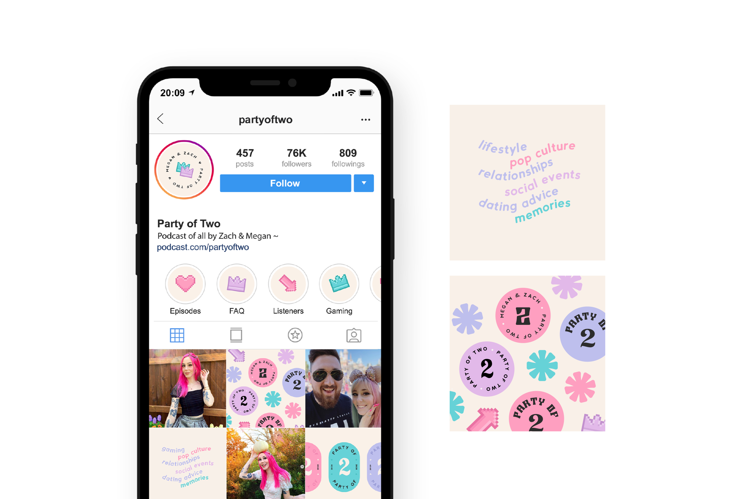 Instagram templates for Party of Two, Podcast by gaming couple Megan and Zach, discussing their lives, popular culture and social events - designed by Wiltshire-based graphic designer, Kaye Huett