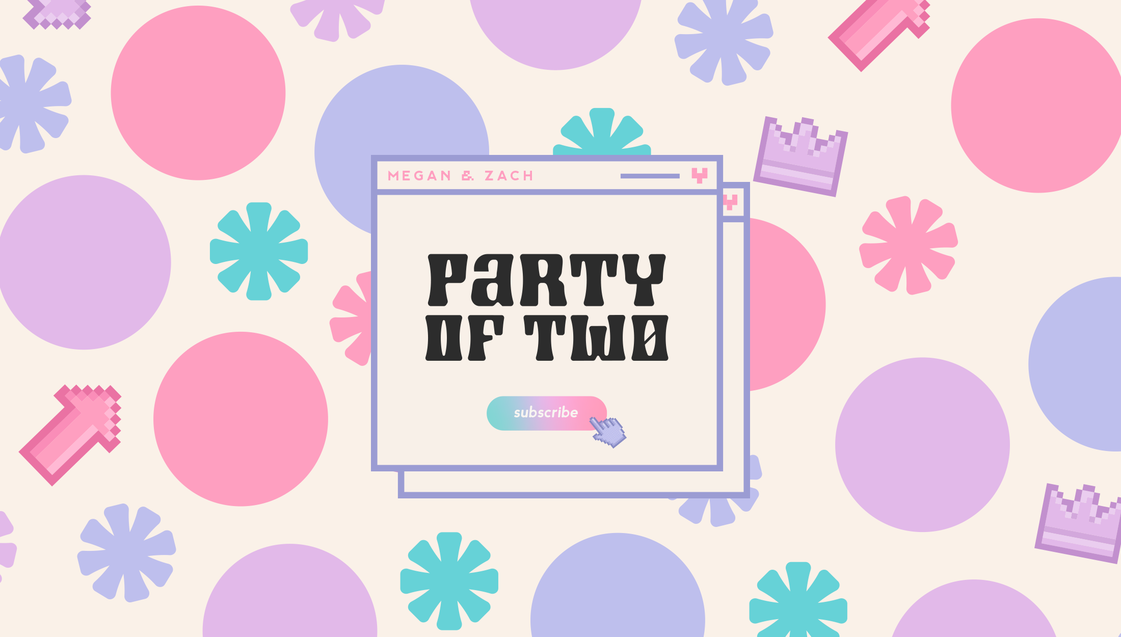 Logo design for Party of Two, Podcast by gaming couple Megan and Zach, discussing their lives, popular culture and social events - designed by Wiltshire-based graphic designer, Kaye Huett