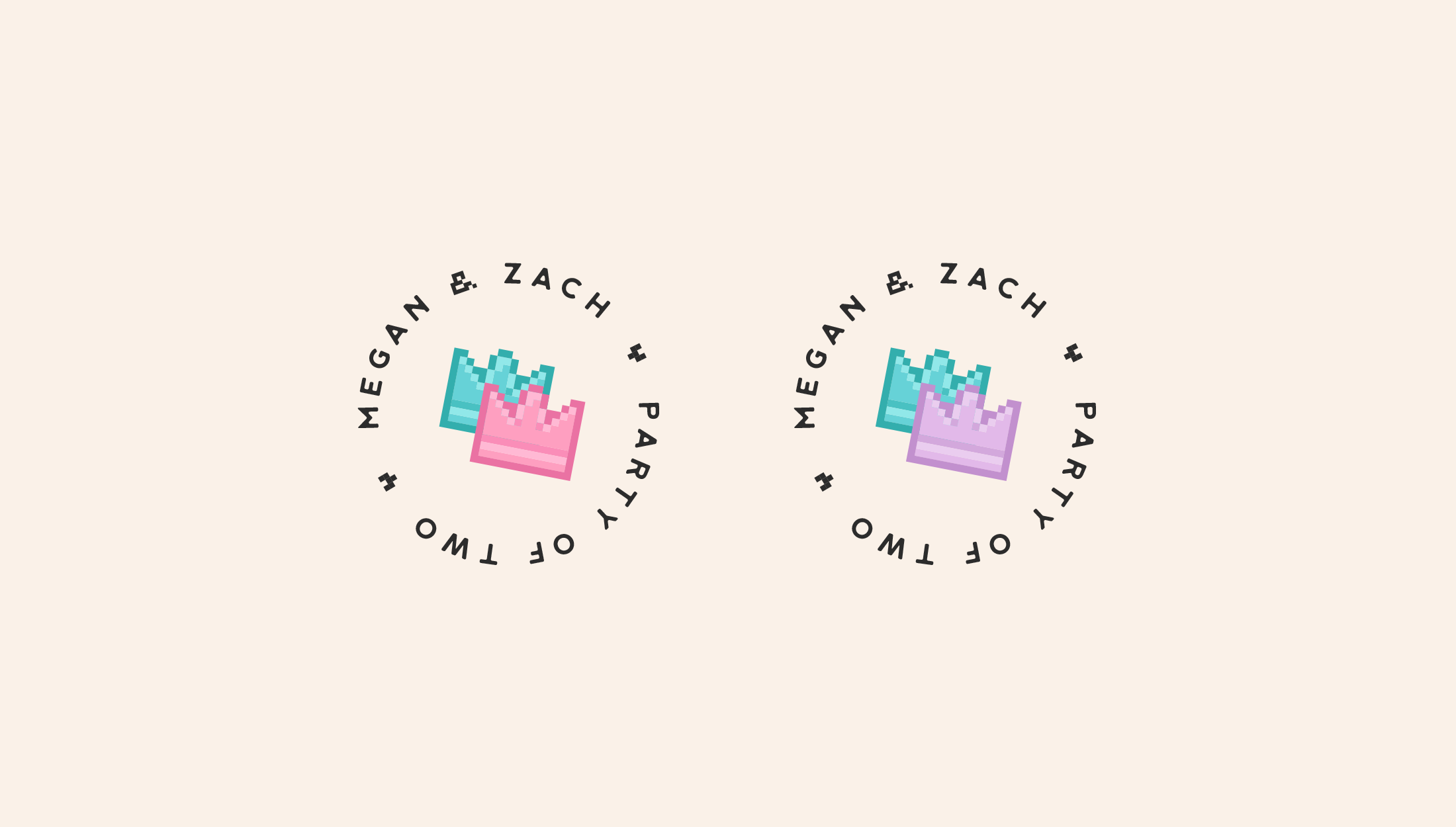Logomark for Party of Two, Podcast by gaming couple Megan and Zach, discussing their lives, popular culture and social events - designed by Wiltshire-based graphic designer, Kaye Huett