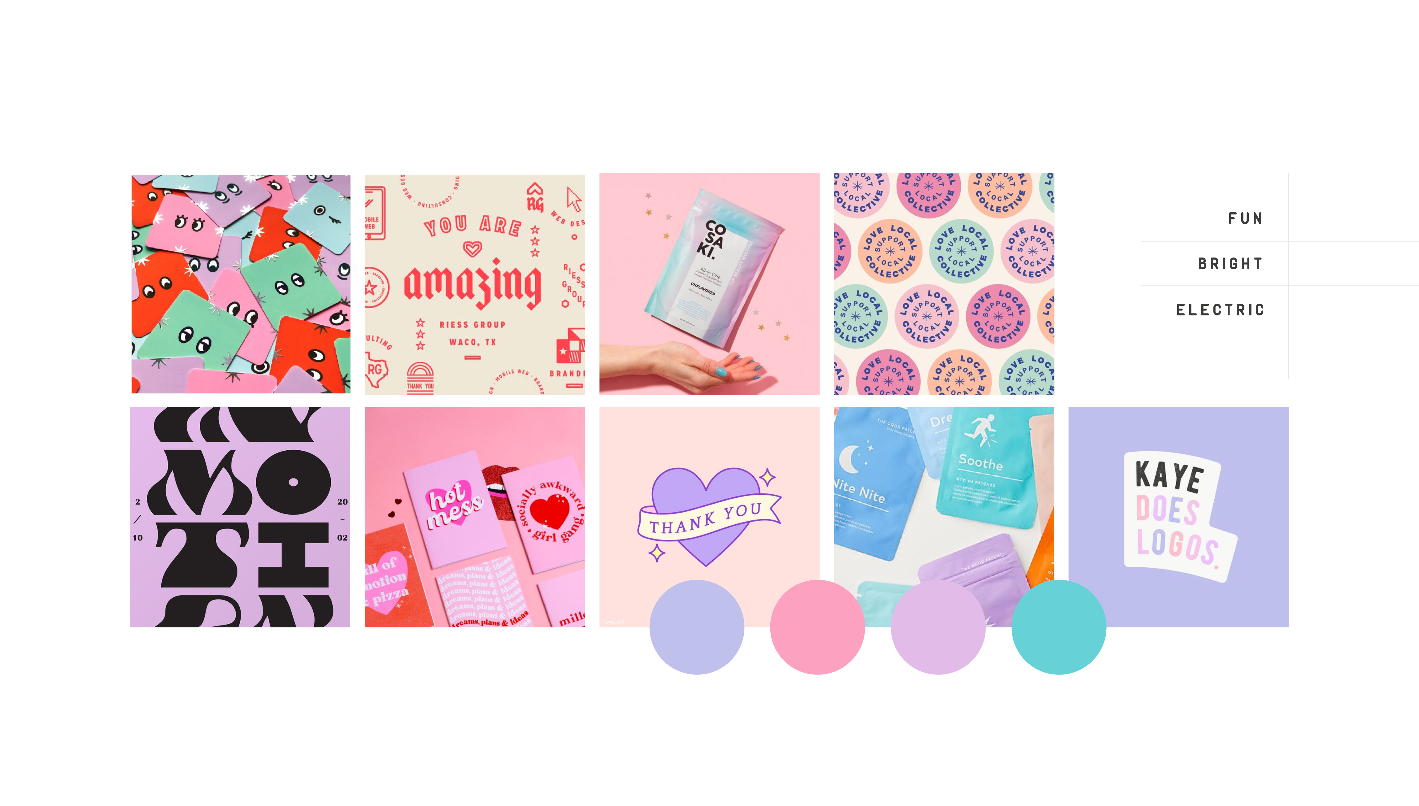 Moodboard for Party of Two, Podcast by gaming couple Megan and Zach, discussing their lives, popular culture and social events - designed by Wiltshire-based graphic designer, Kaye Huett