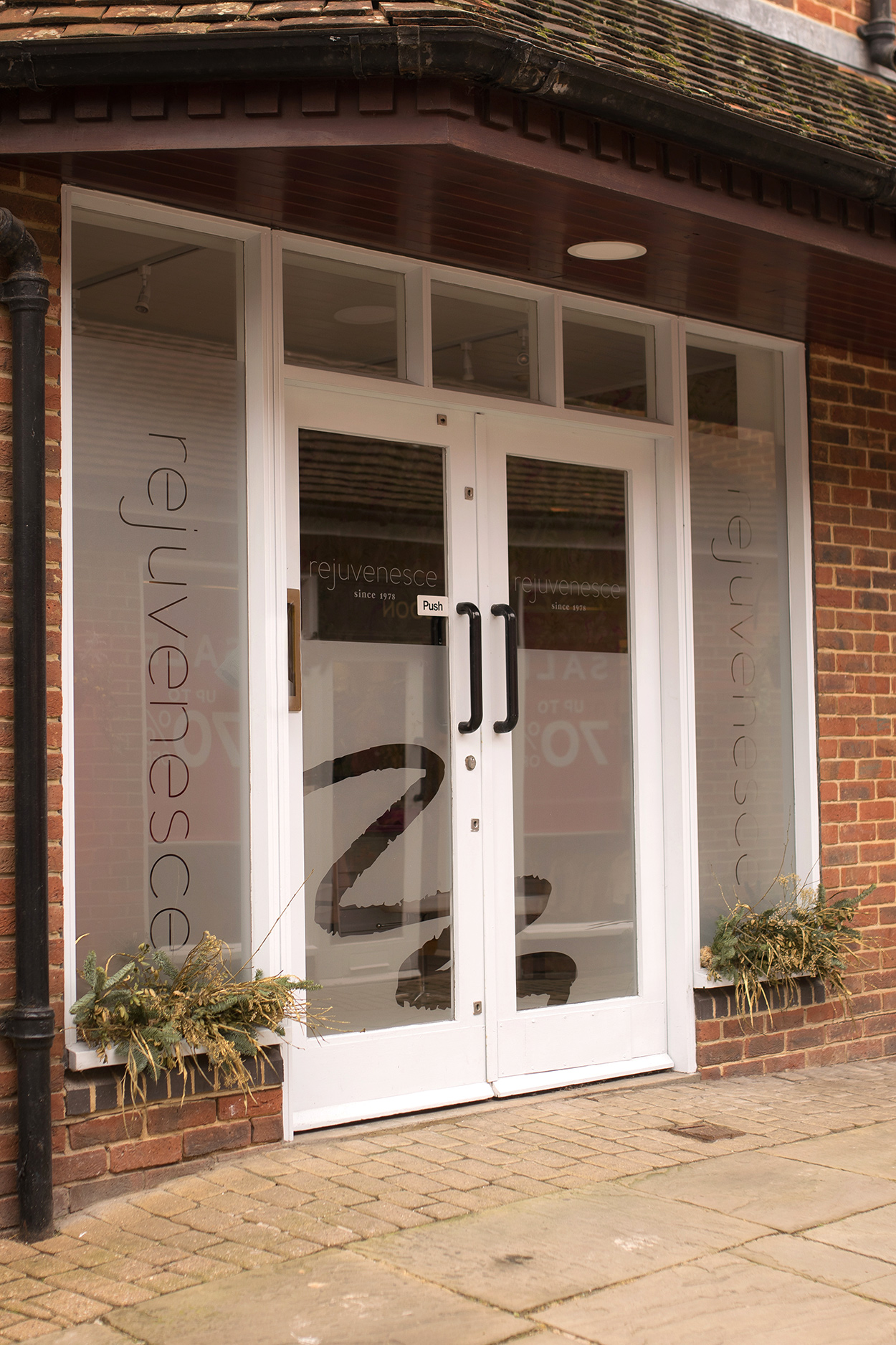 Hanging Signs and window frosting for beauty salon brand Rejuvenesce in Marlborough - Designed by Wiltshire-based graphic designer, Kaye Huett