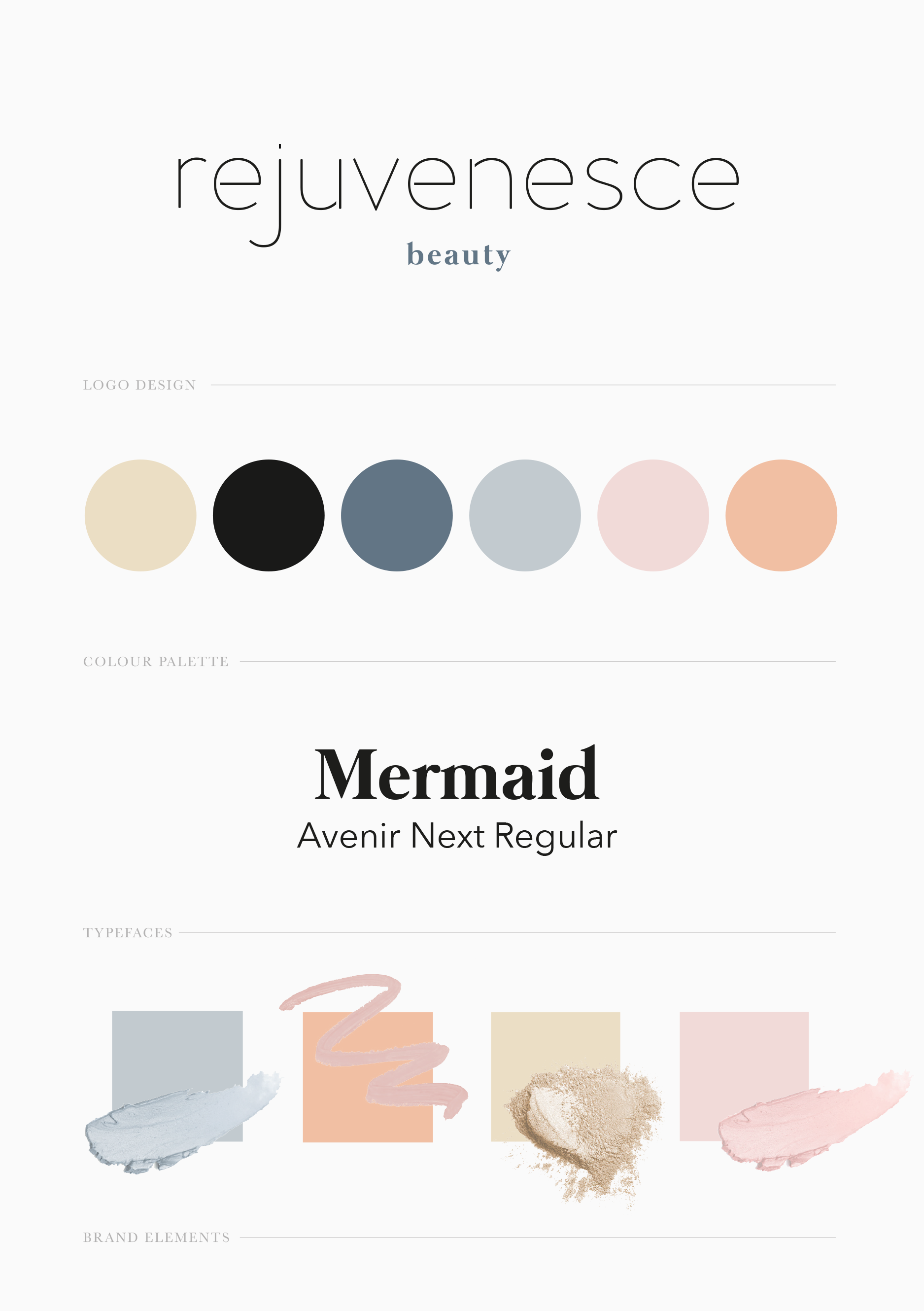 The brand document outlining the refreshed logo, colour palette and brand elements for beauty salon brand Rejuvenesce - Designed by Wiltshire-based graphic designer, Kaye Huett