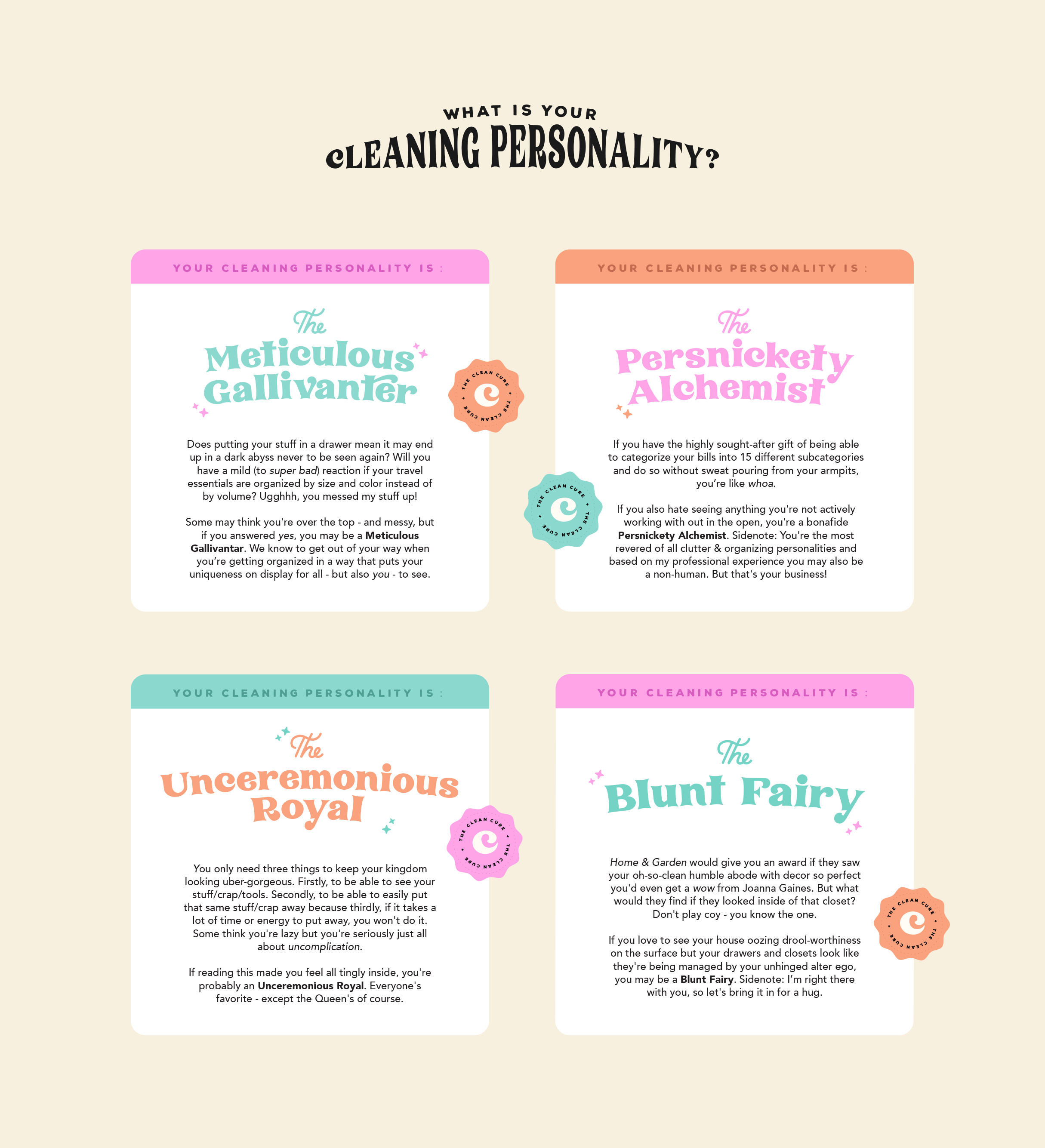 Cleaning personality cards for The Clean Cure, helping you get organised by delving to the root of the problem - designed by Wiltshire-based graphic designer, Kaye Huett