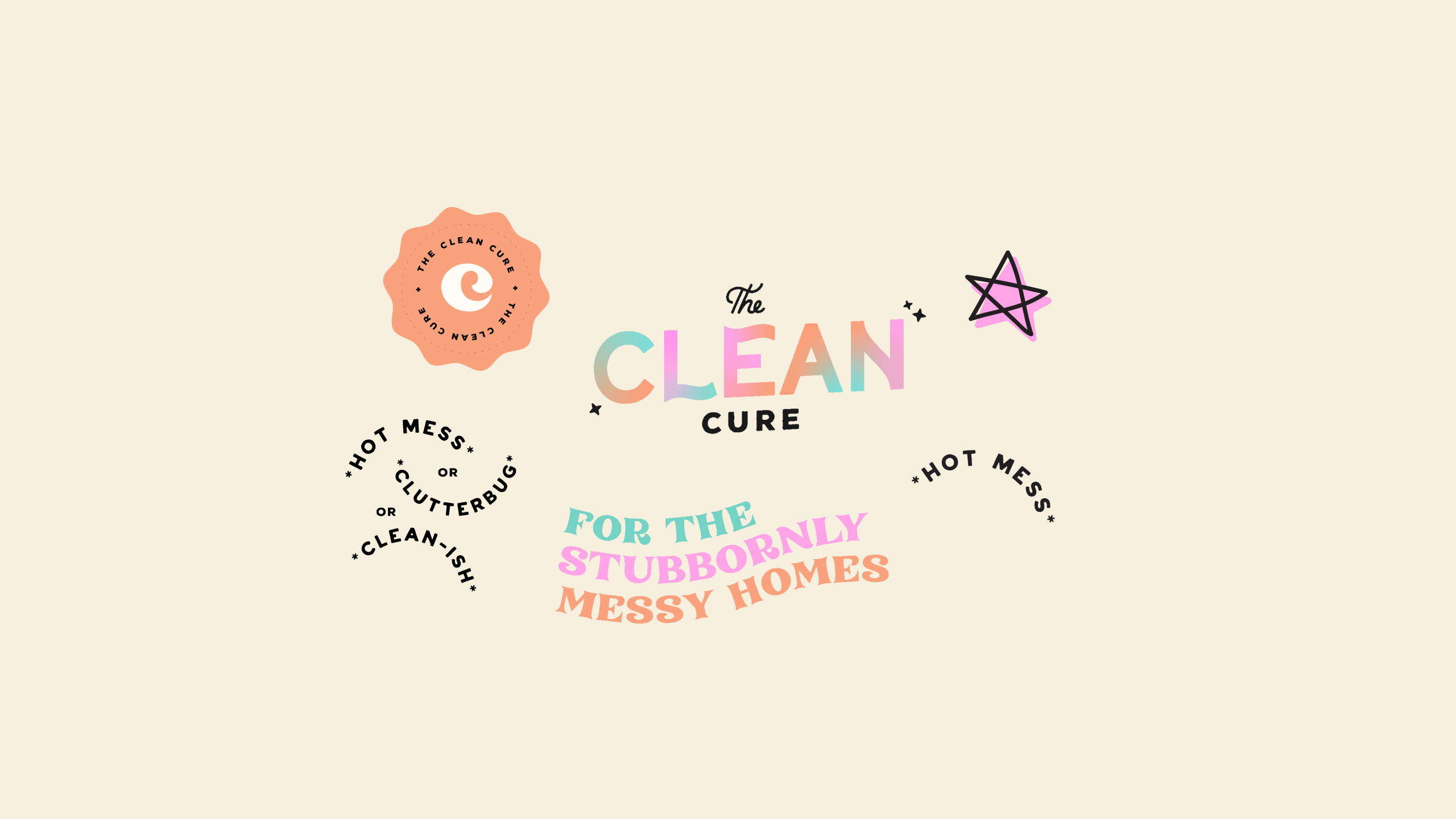 Animated sticker GIF design for The Clean Cure, helping you get organised by delving to the root of the problem - designed by Wiltshire-based graphic designer, Kaye Huett