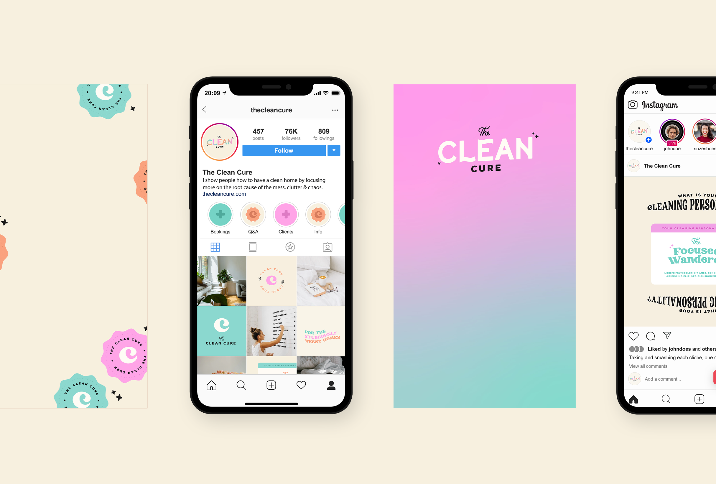 Instagram strategy for The Clean Cure, helping you get organised by delving to the root of the problem - designed by Wiltshire-based graphic designer, Kaye Huett