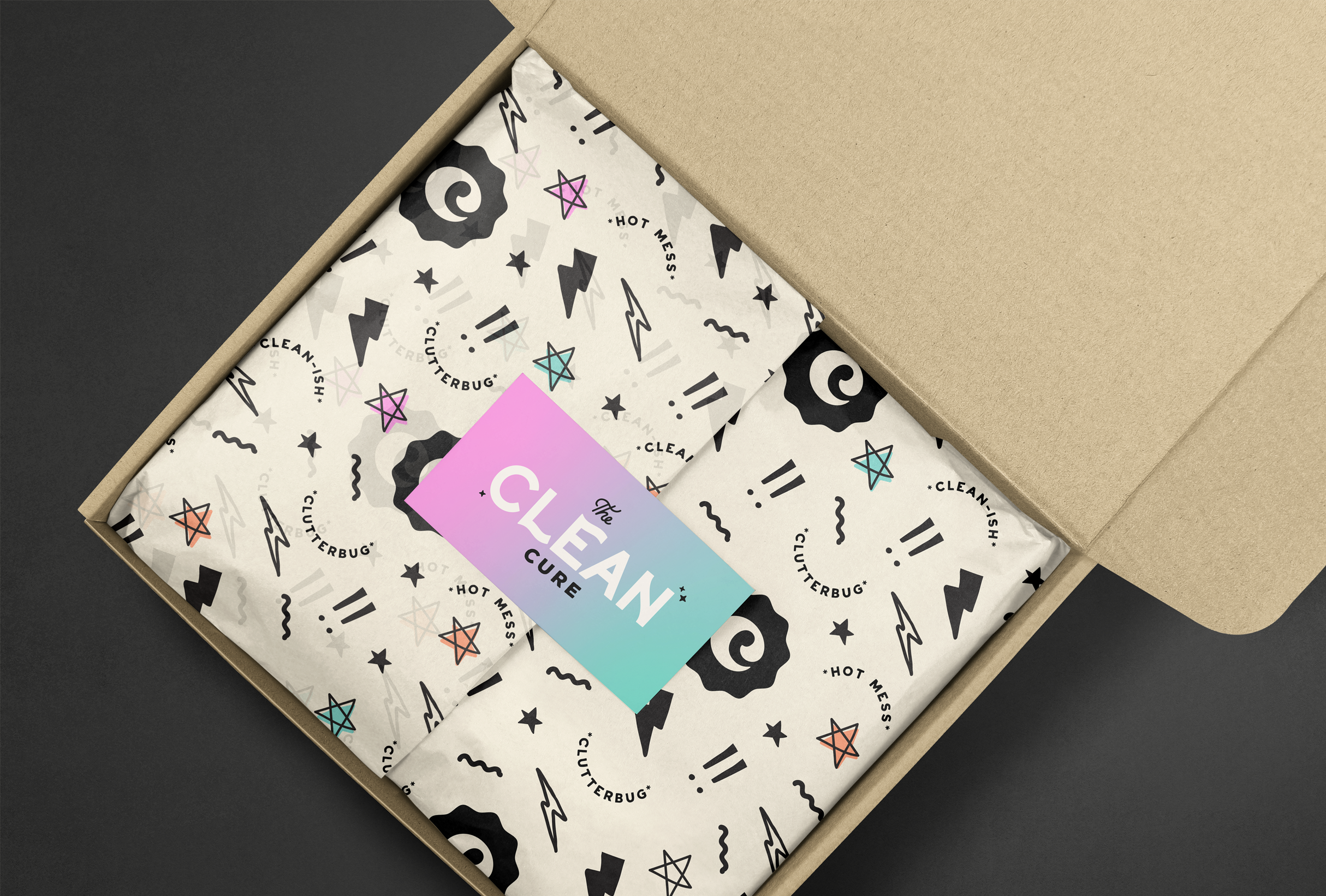 Packaging design for The Clean Cure, helping you get organised by delving to the root of the problem - designed by Wiltshire-based graphic designer, Kaye Huett