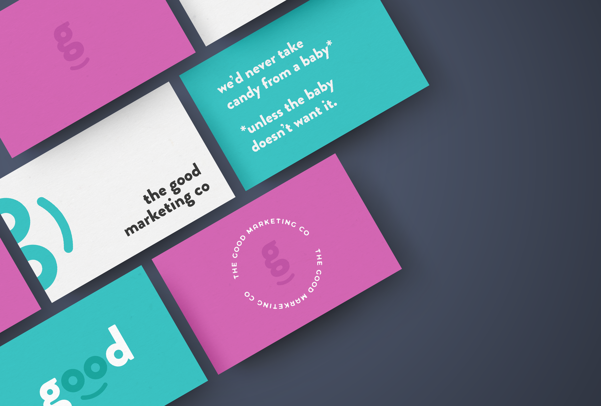 Final business card design for The Good Marketing Co, a health and wellness marketing agency with honest and ethical values - designed by Wiltshire-based graphic designer, Kaye Huett