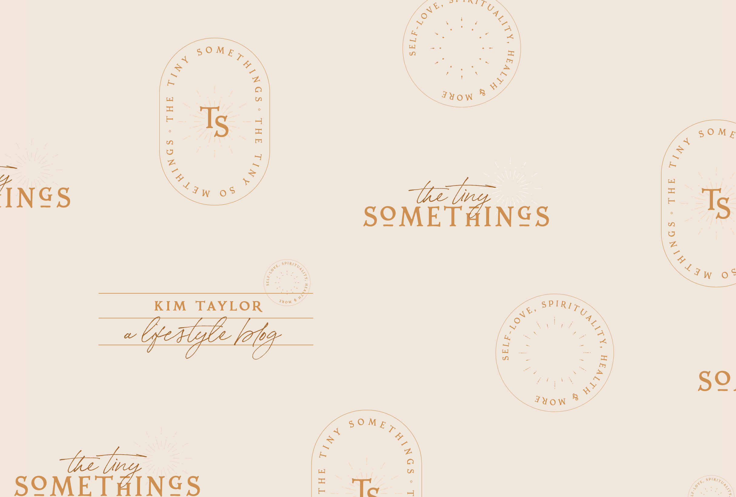 Brand pattern for The Tiny Somethings, a lifestyle blog that shares little snippets of advice and experiences on different areas of life including personal growth, self-love, spirituality, health & wellness, and more - designed by Wiltshire-based graphic designer, Kaye Huett