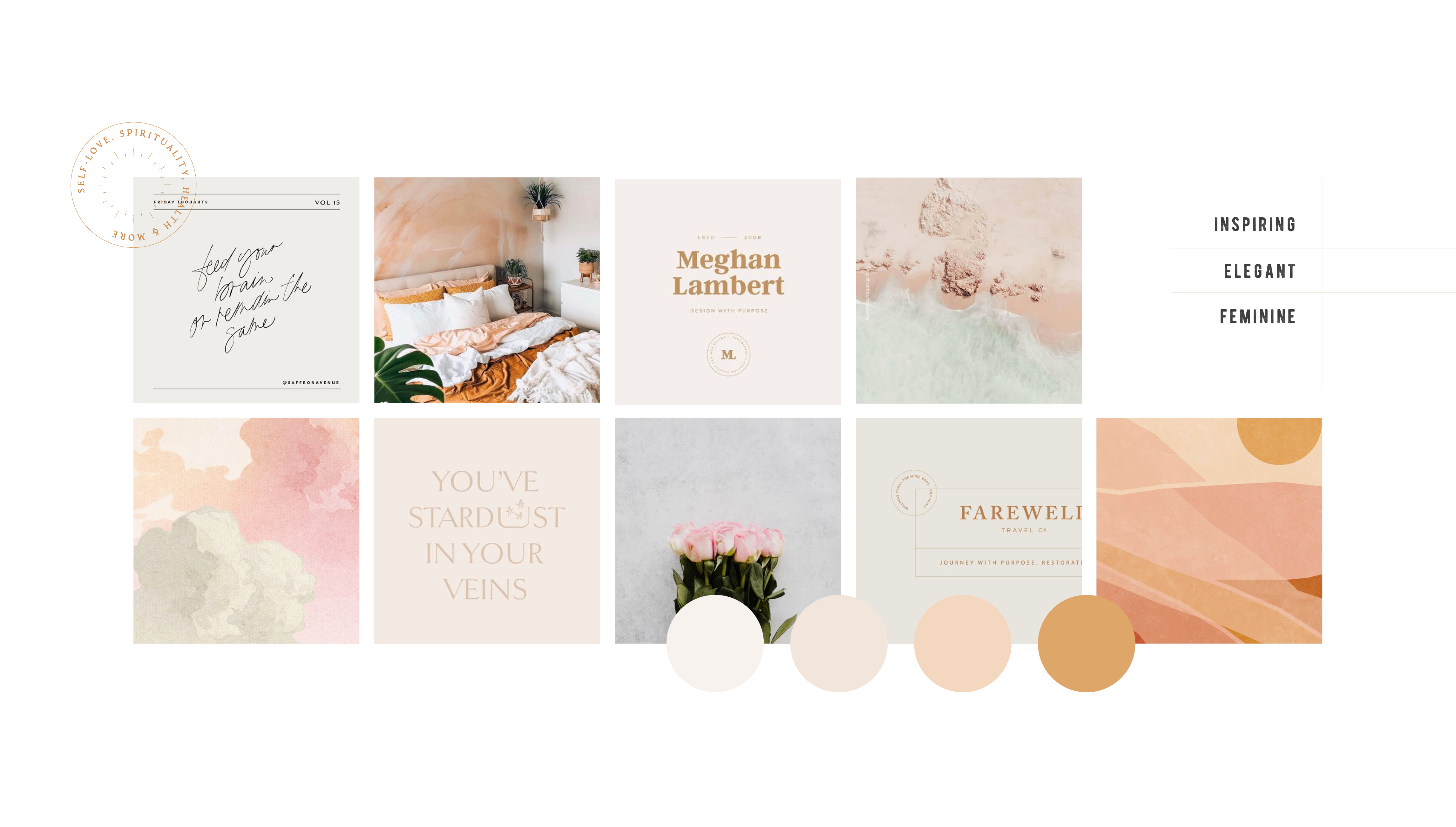 Moodboard and strategy for The Tiny Somethings, a lifestyle blog that shares little snippets of advice and experiences on different areas of life including personal growth, self-love, spirituality, health & wellness, and more - designed by Wiltshire-based graphic designer, Kaye Huett