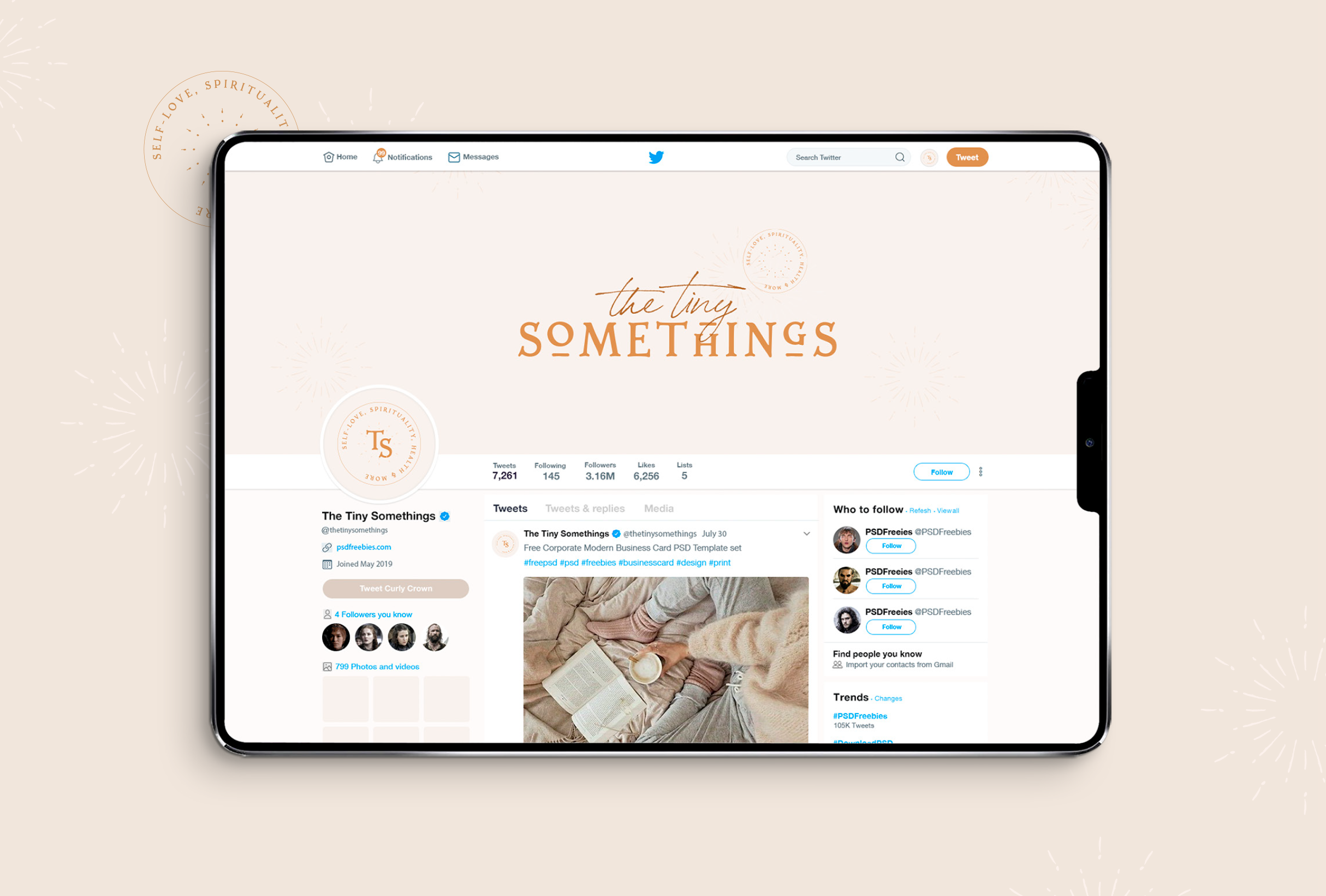 Twitter design for The Tiny Somethings, a lifestyle blog that shares little snippets of advice and experiences on different areas of life including personal growth, self-love, spirituality, health & wellness, and more - designed by Wiltshire-based graphic designer, Kaye Huett