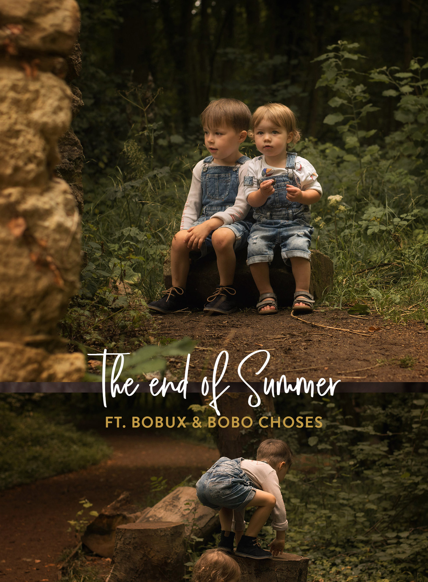 Two young brothers at the park wearing Bobo Choses BOW and balls tops, Next denim dungarees and Bobux driftwood sandals