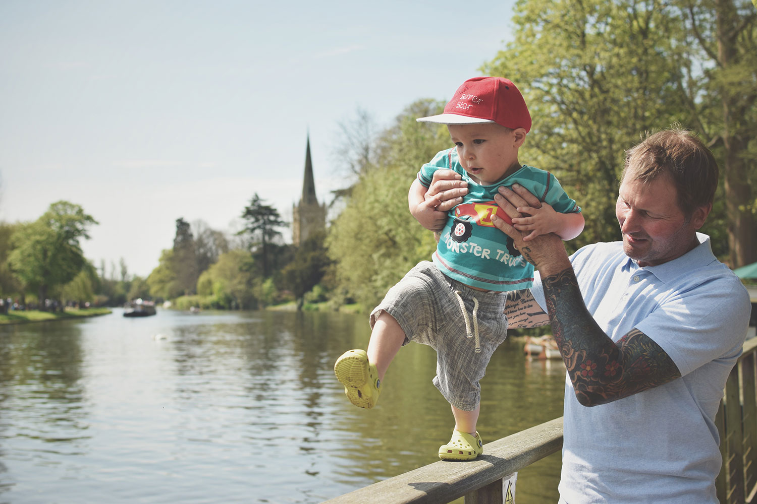 One Beautiful Sweaty Sunday at Stratford-upon-Avon - Toddler walking on the bridge with Grandad at Stratford-upon-Avon on a warm, sunny day