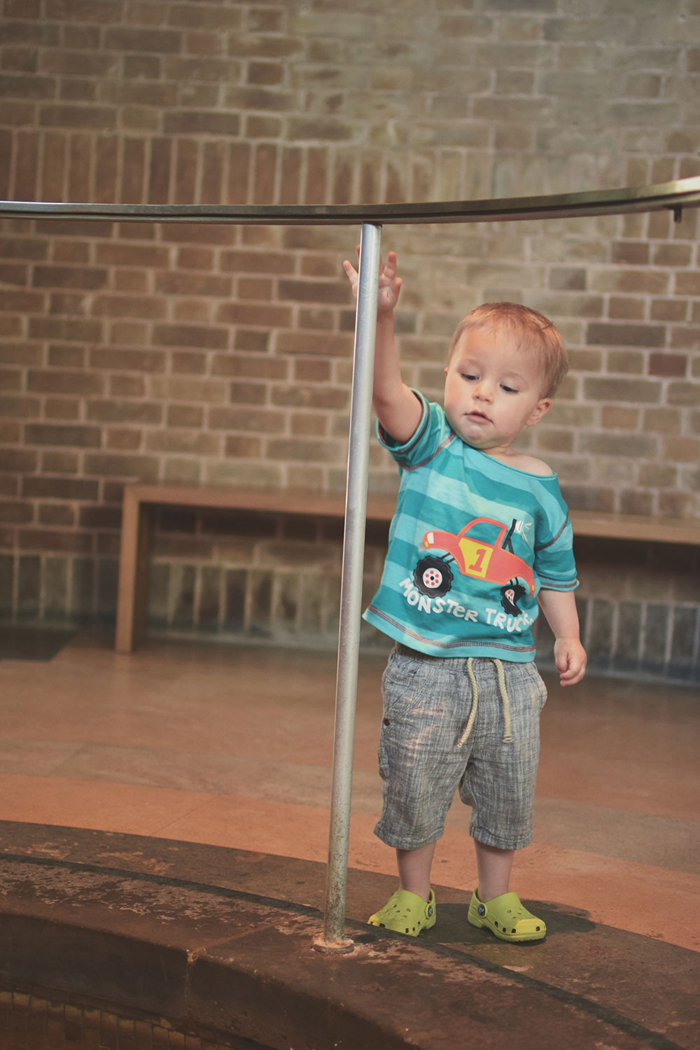 One Beautiful Sweaty Sunday at Stratford-upon-Avon - Toddler throwing pennies into the fountain in the RSC - Royal Shakespeare Company Theatre - at Stratford-upon-Avon