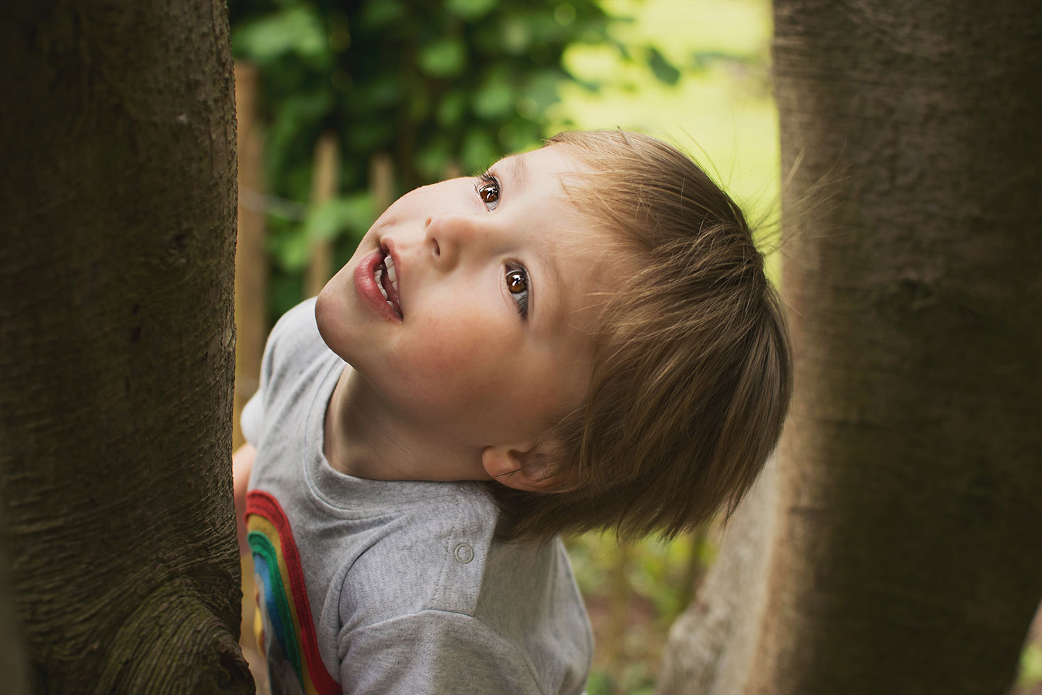Close-up of young boy wearing Frugi rainbow t-shirt climbing trees at Tyntesfield Estate, Hampshire, National Trust