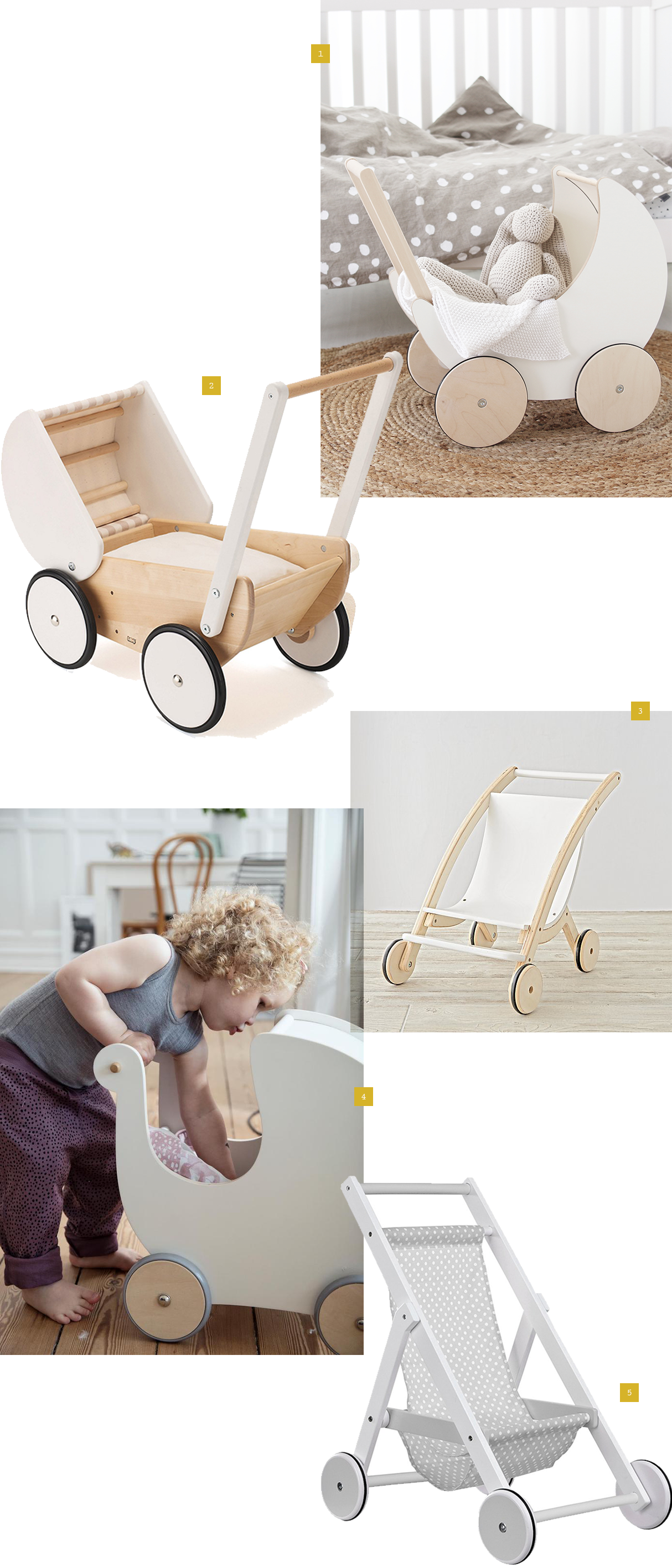 5 of the best wooden unisex gender-neutral white wooden pushchairs and prams for little boys and girls as gifts for Christmas or Birthday