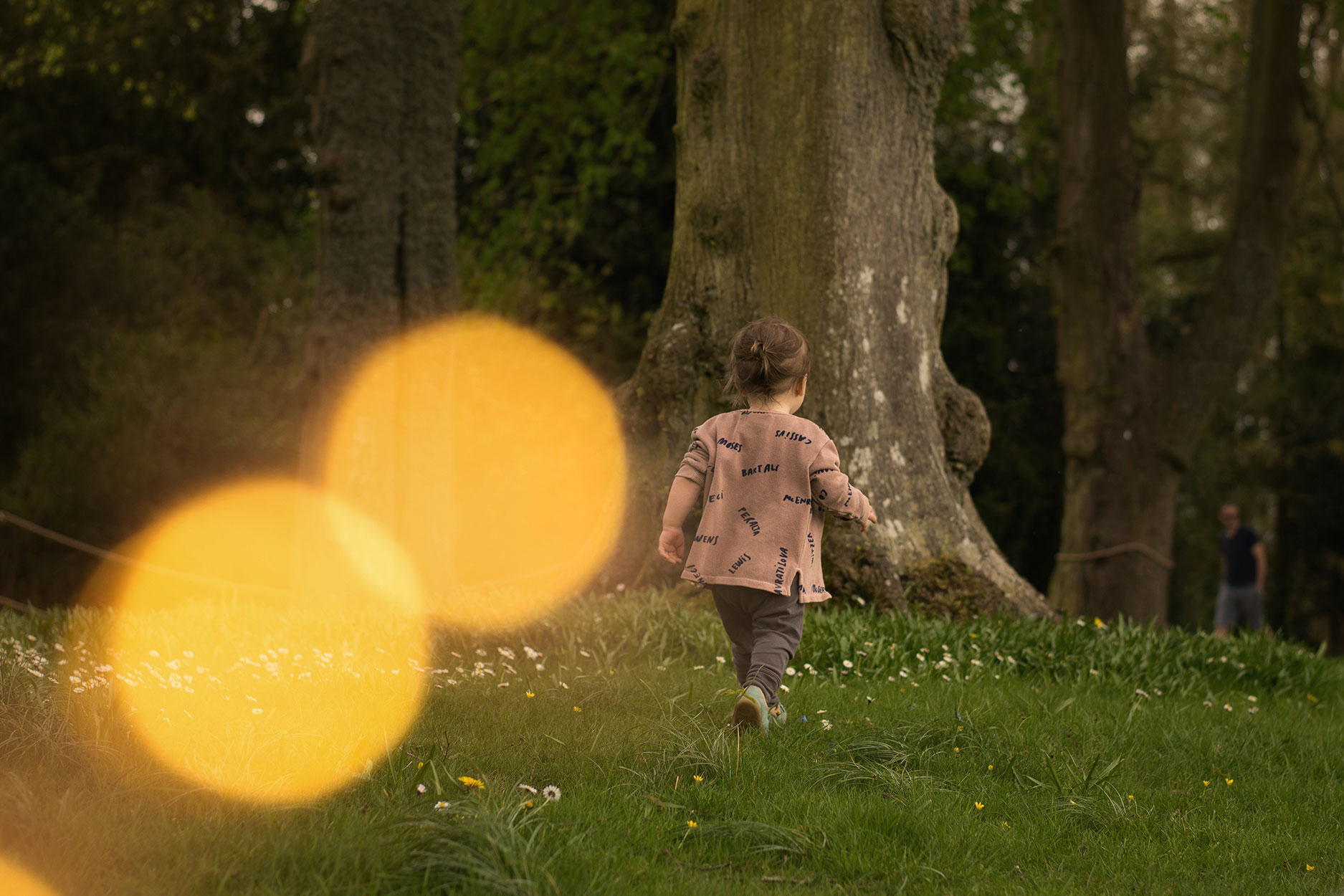 Family with two young boys and grandparents visiting Waddeson Manor, National Trust, spending the day exploring the grounds, woodlands and park wearing Bobo Choses legends and Tiny Cottons faces