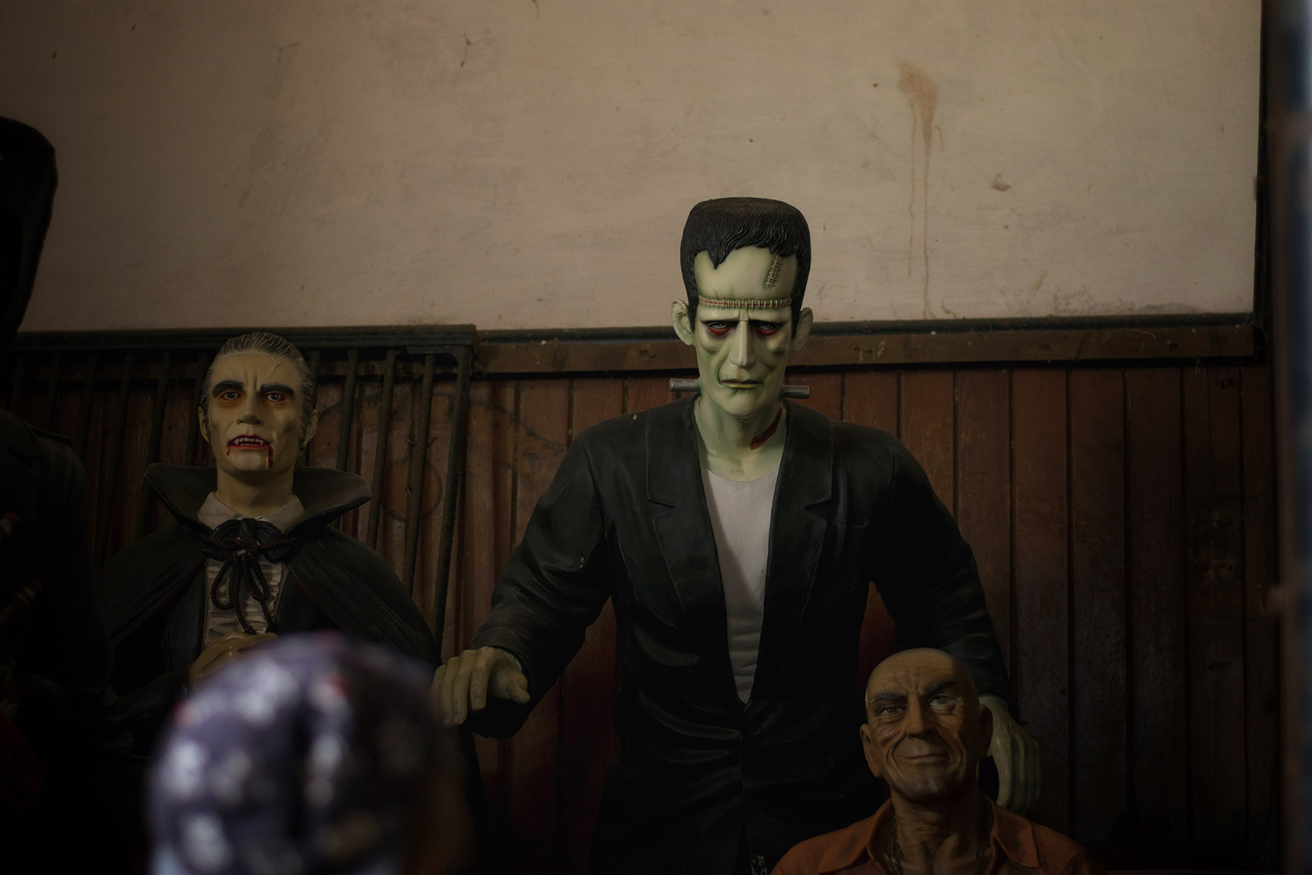 Halloween models such as Frankenstein at Tredegar House, National Trust in Newport, Wales