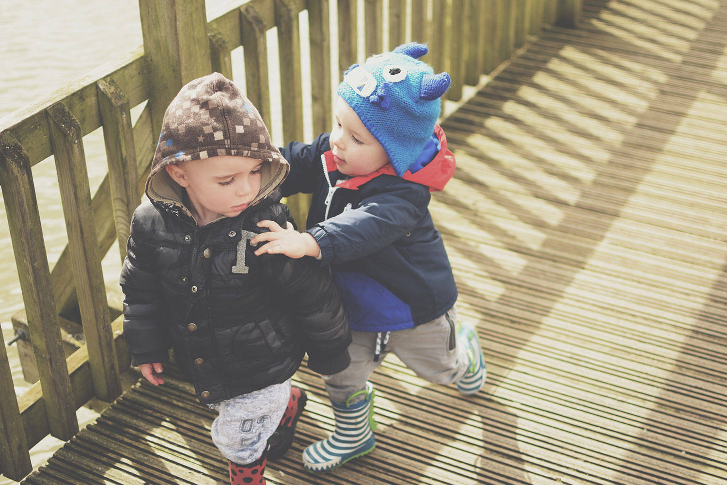 Our Day Out at the Slimbridge Wetland Centre, Gloucestershire - Toddler cousins playing together